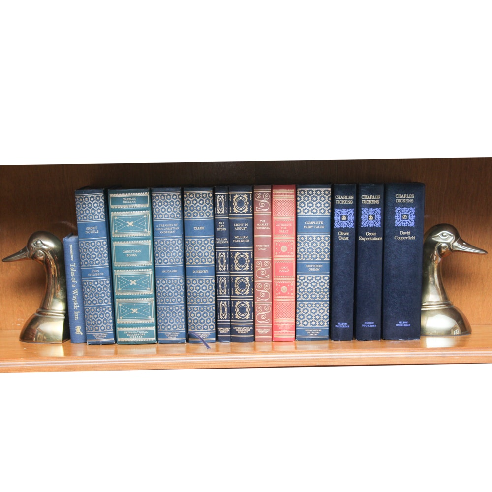 Vintage Decorative Fiction Books with Brass Bookends