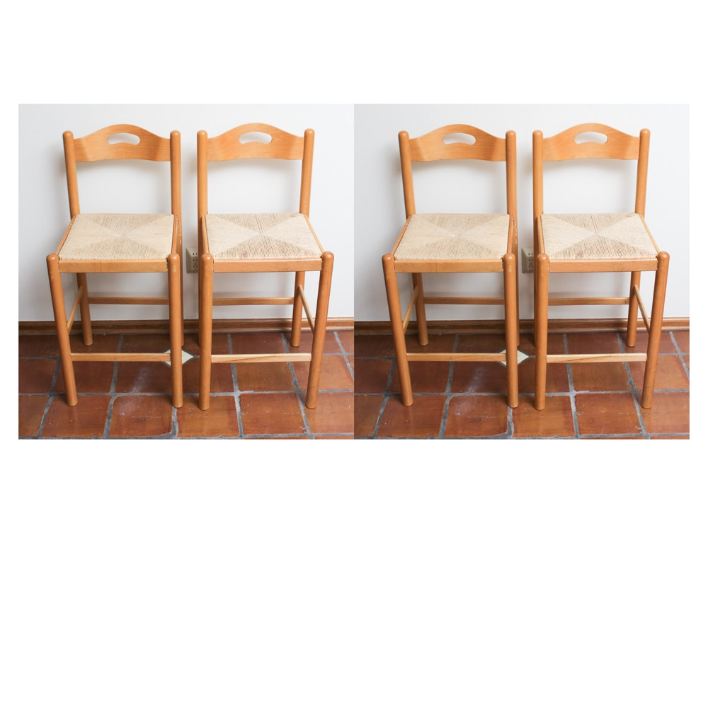 Maple Counter Height Chairs with Rush Seats
