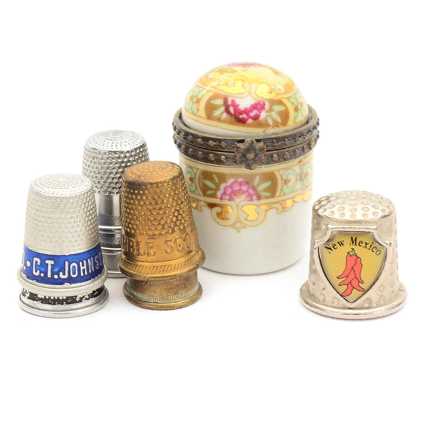Hand Painted Limoges Trinket Box and Assorted Thimbles