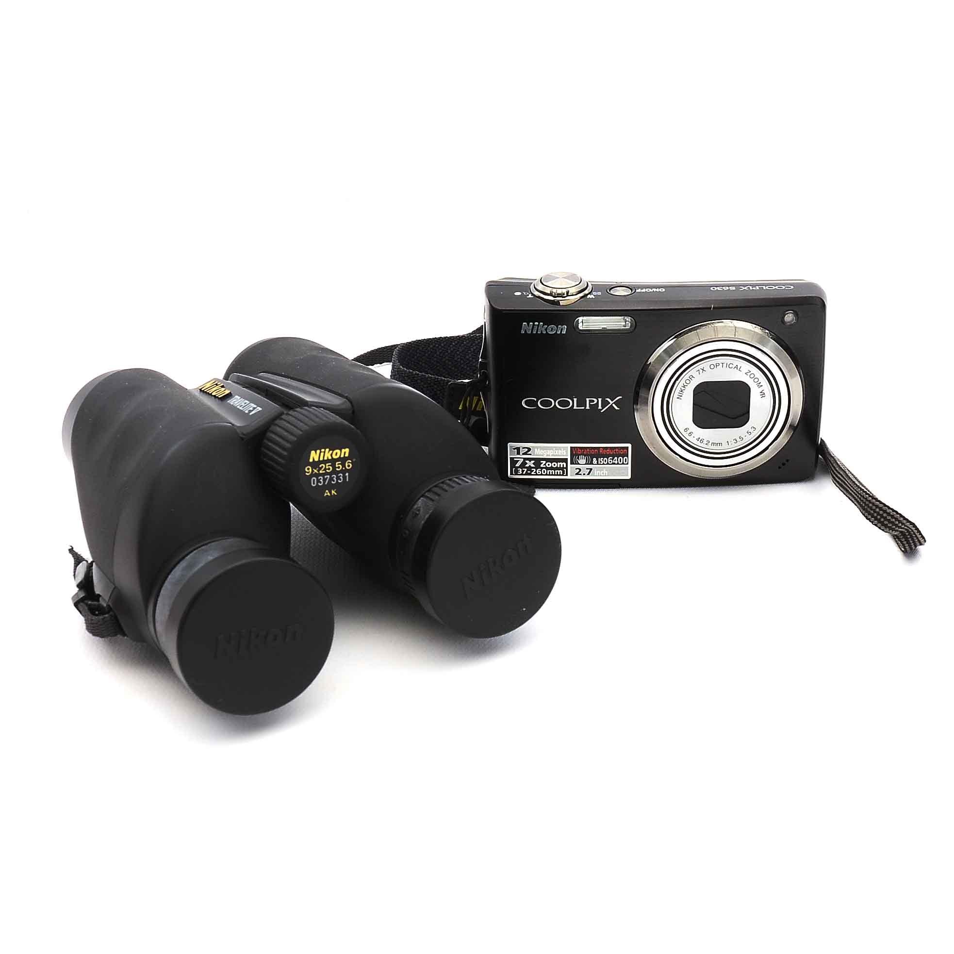 Nikon Digital Camera, Binoculars and Lithium Battery Charger