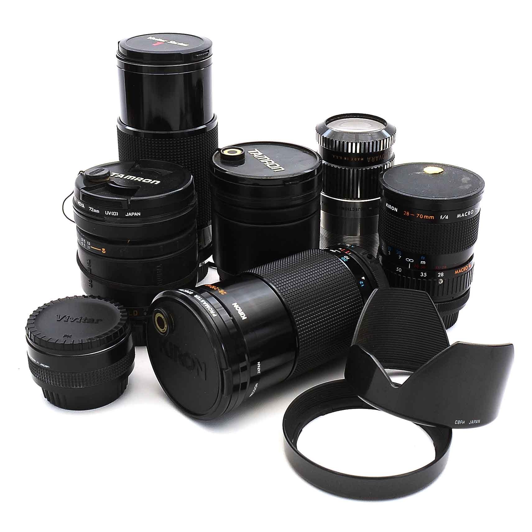 Camera Lenses Including Vivitar, Sigma, Kiron and More