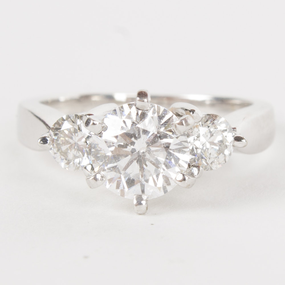 14K White Gold 1.84 CTW Diamond Ring