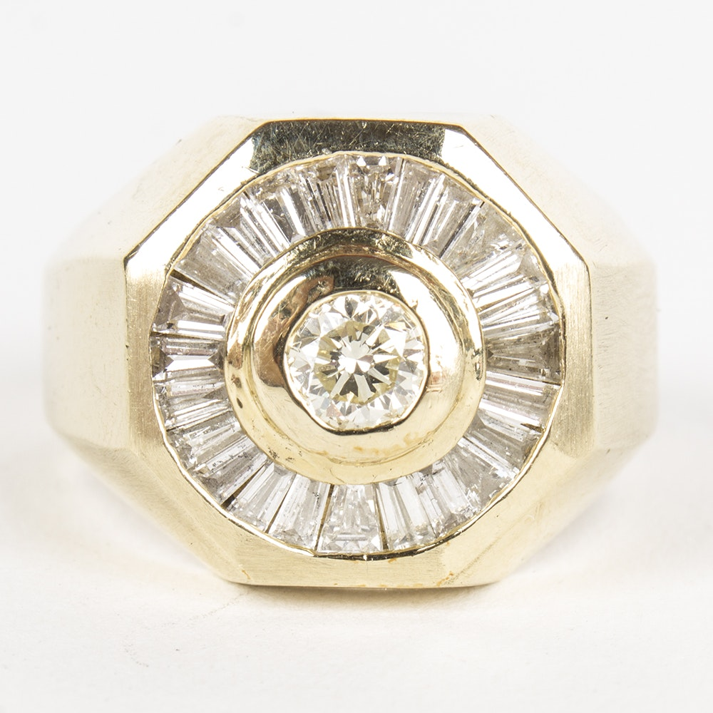 14K Yellow Gold 1.66 CTW Diamond Octagon Ring