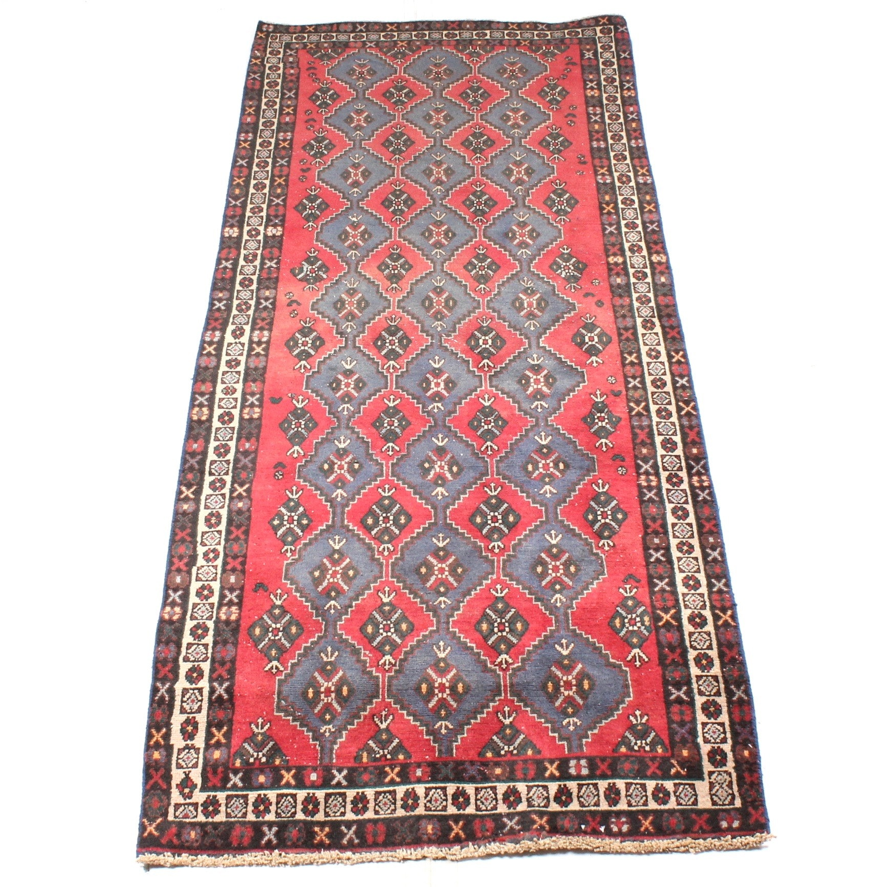 3' x 8' Vintage Hand-Knotted Persian Qashqai Runner