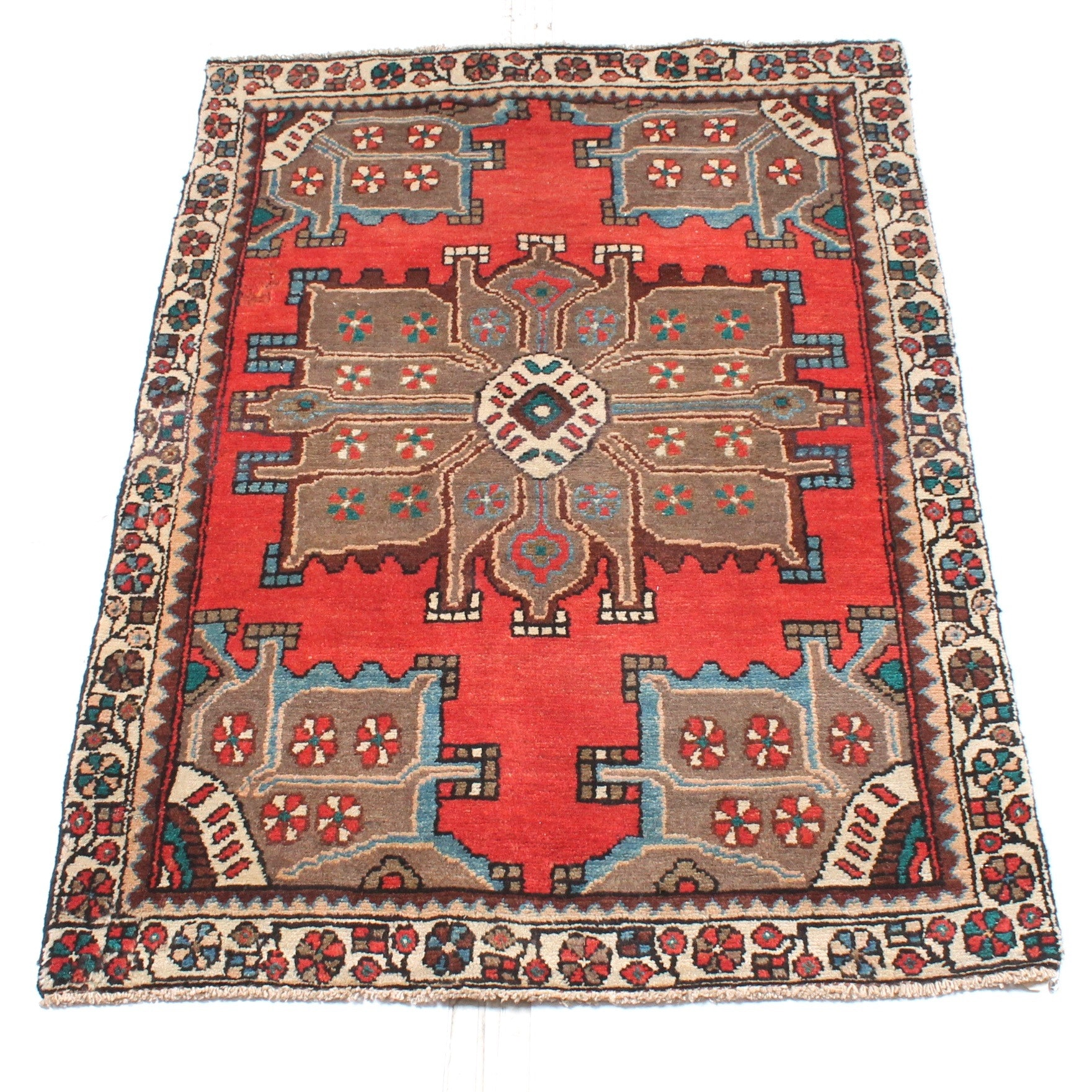 3' x 4' Vintage Hand-Knotted Persian Karaja Heriz Accent Rug