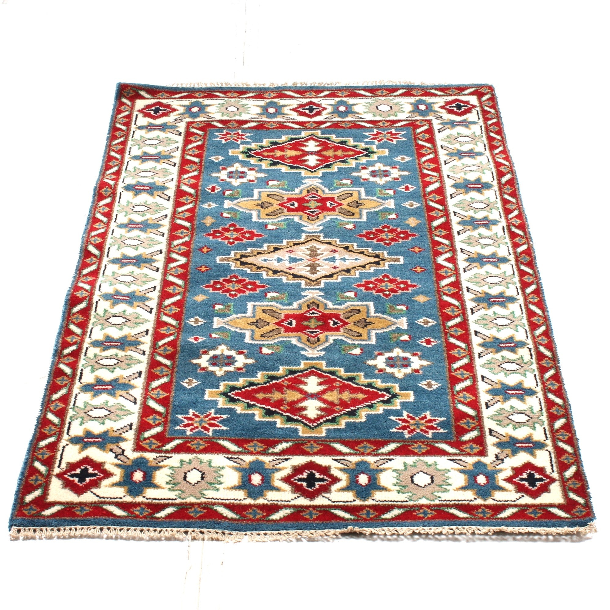 4' x 6' Hand-Knotted Indo-Caucasian Kazak Area Rug