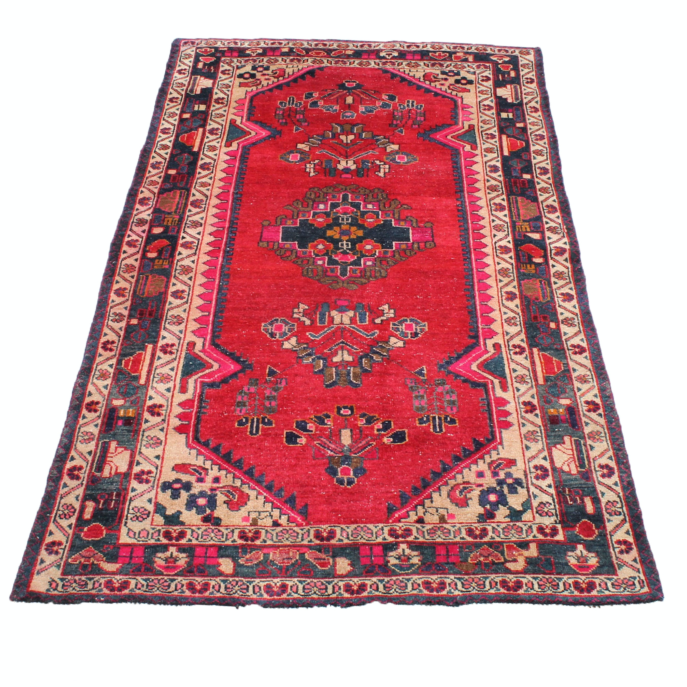 4' x 8' Semi-Antique Hand-Knotted Persian Mahal Sarouk Rug