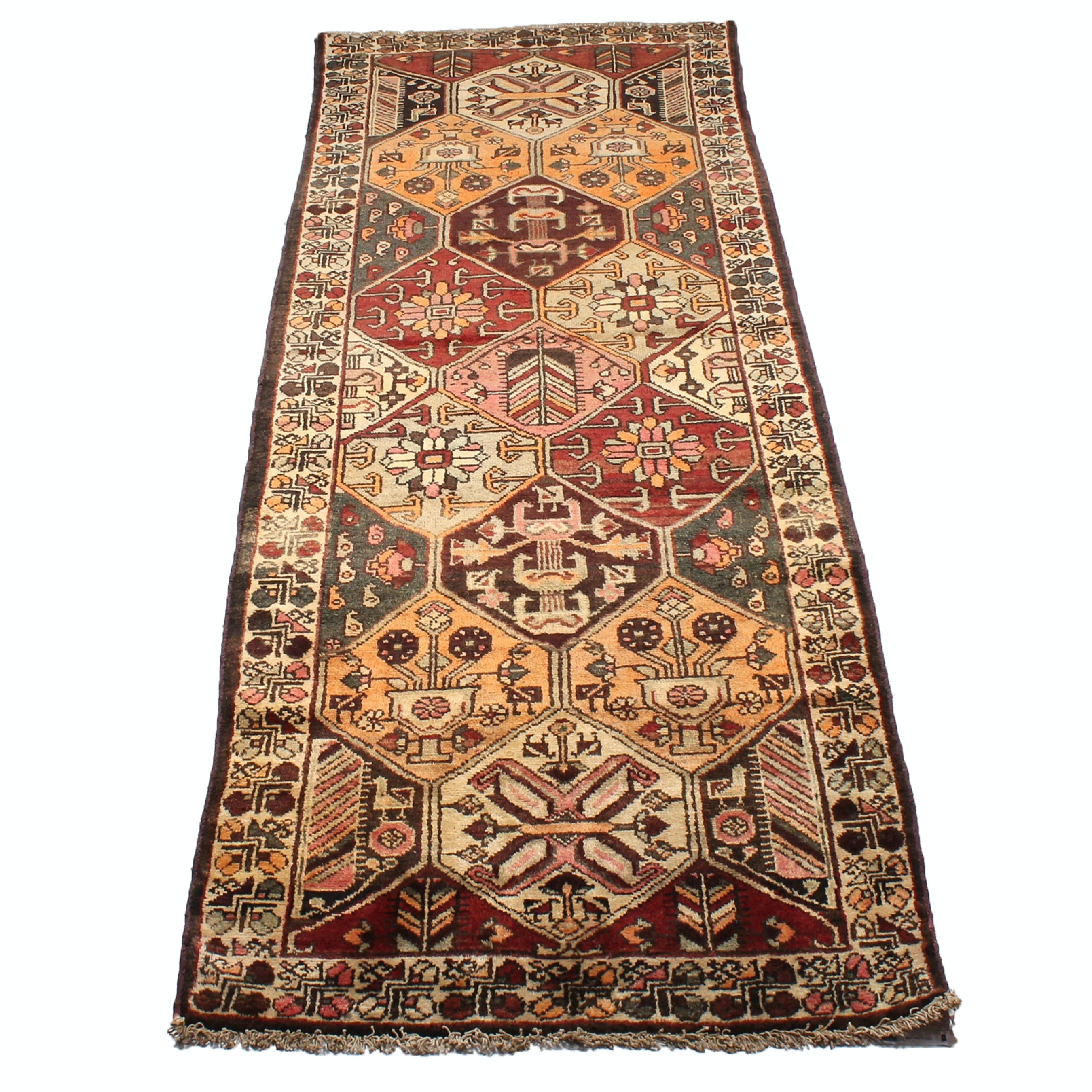 3' x 10' Vintage Hand-Knotted Persian Bakhtiari Runner Rug