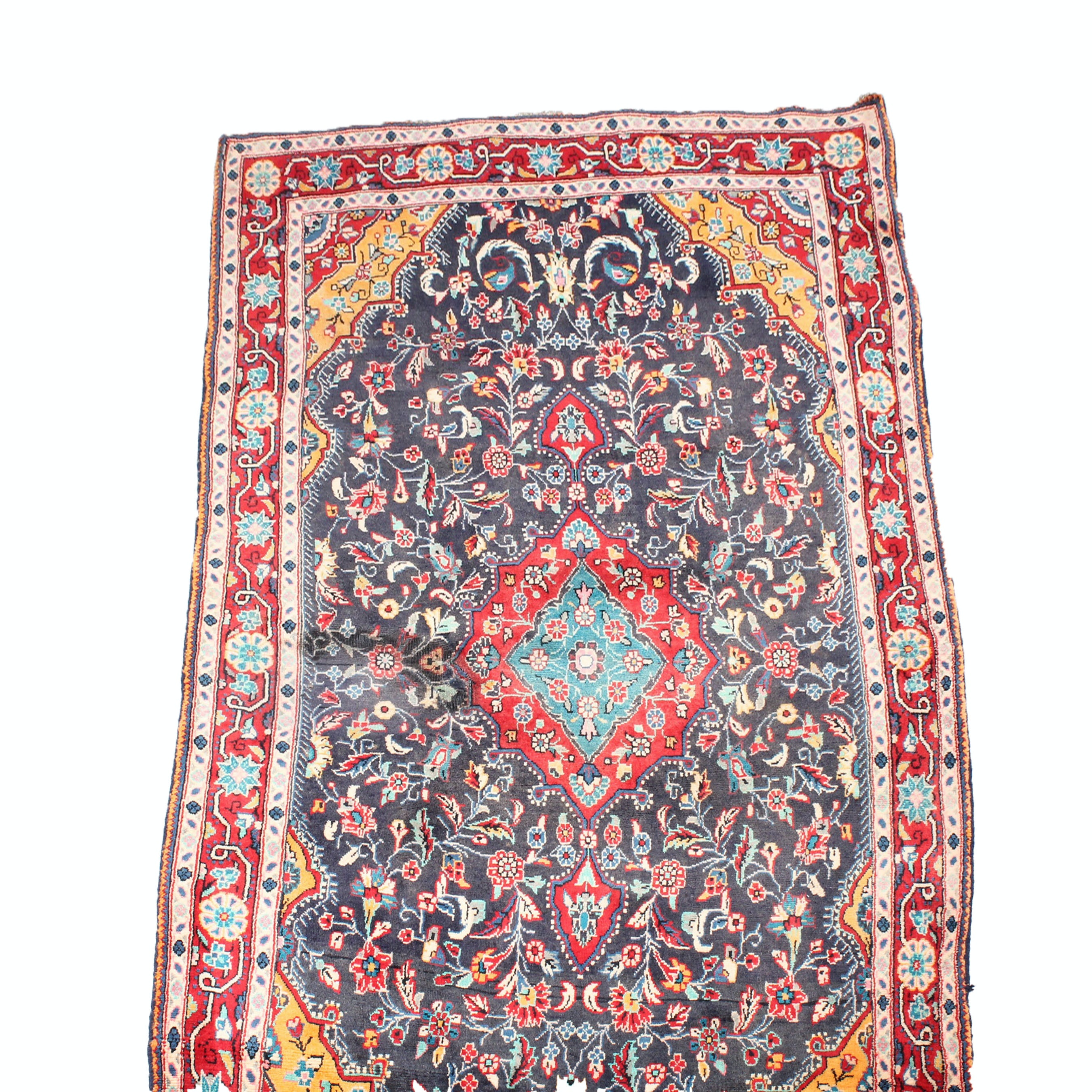 3' x 8' Vintage Hand-Knotted Persian Malayer Sarouk Rug