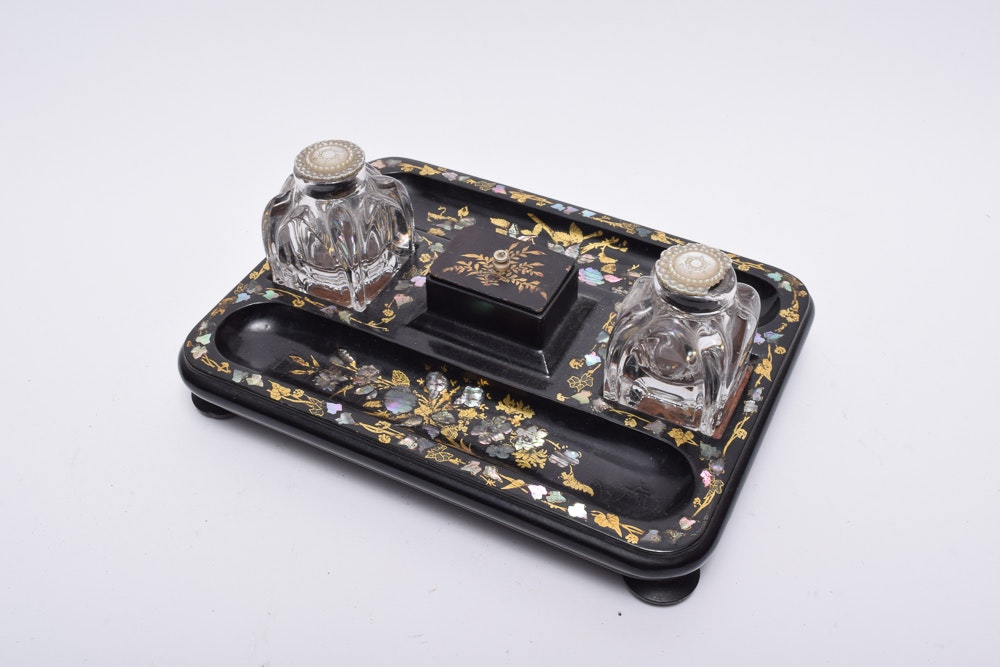 Abalone Accented Writing Tray and Glass Ink Jars