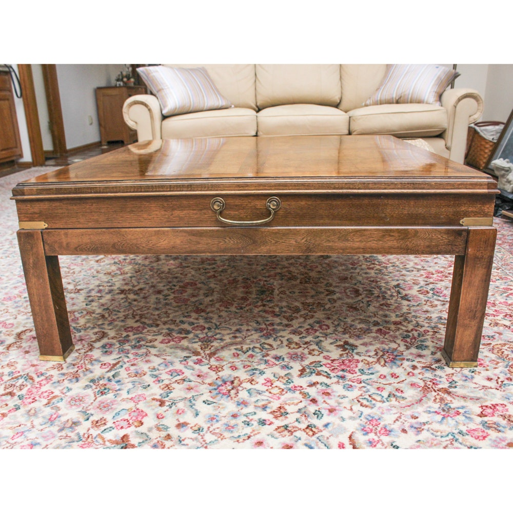 Vintage Lane Campaign Style Oak Veneer Coffee Table