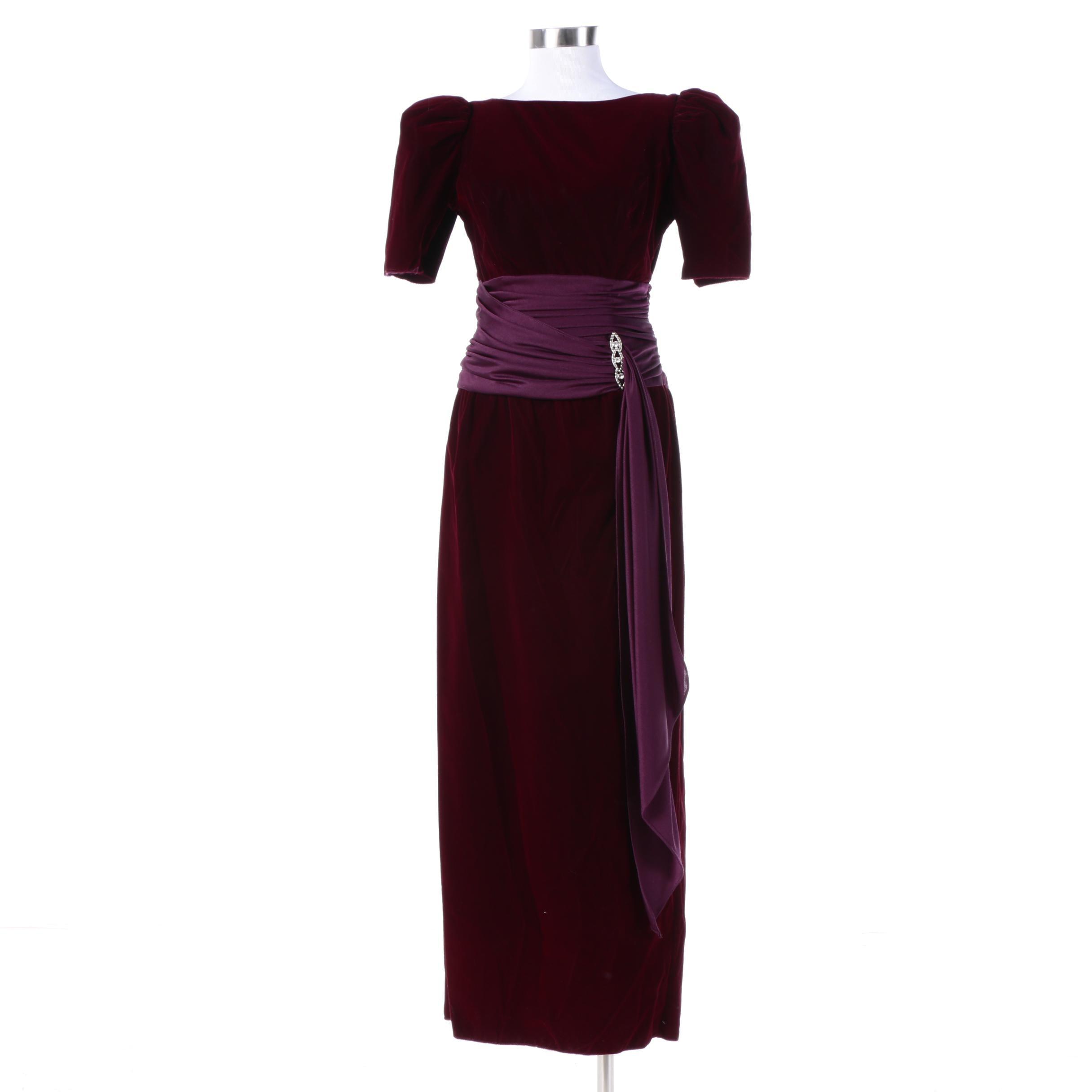Vintage Alfred Angelo Burgundy Velvet Gown