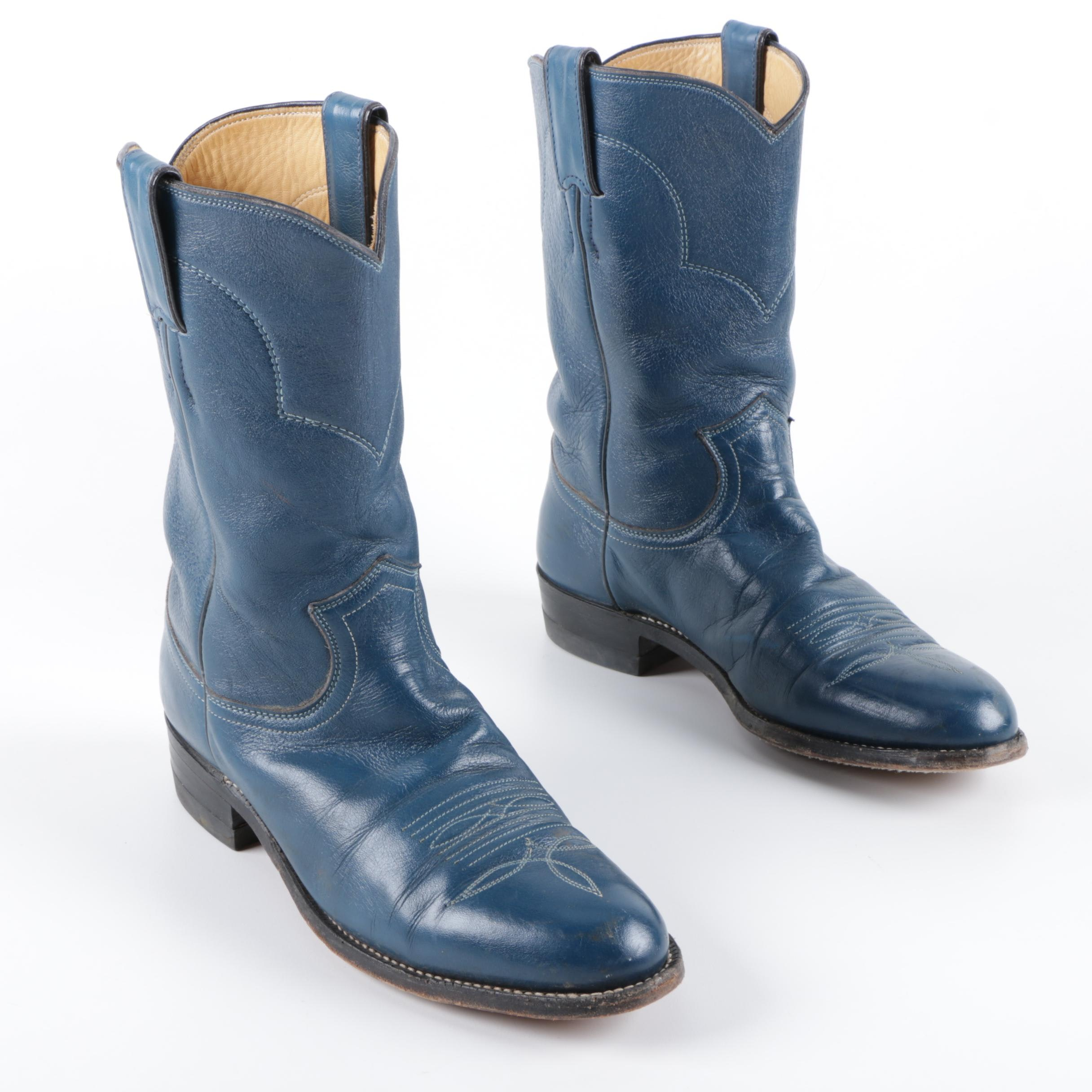 Women's Justin Blue Leather Cowgirl Boots