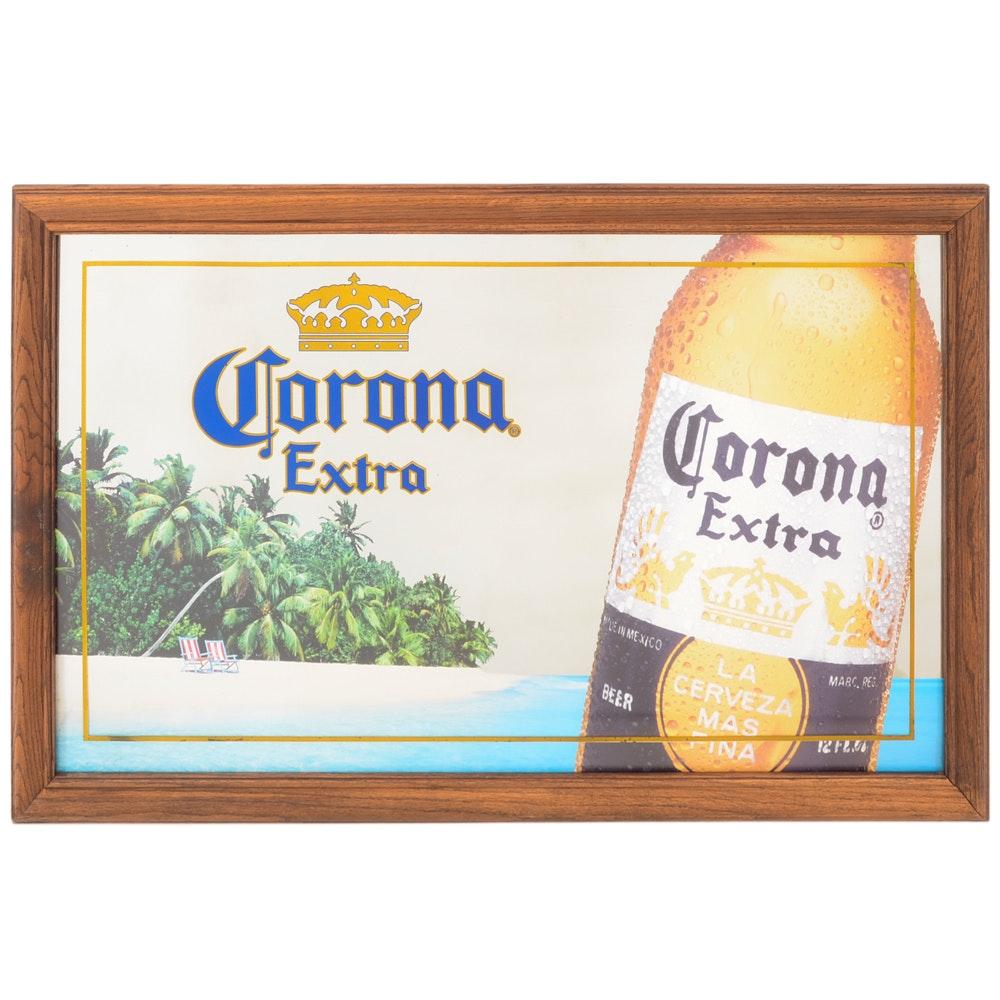 "Large ""Corona Extra"" Mirrored Beer Display"