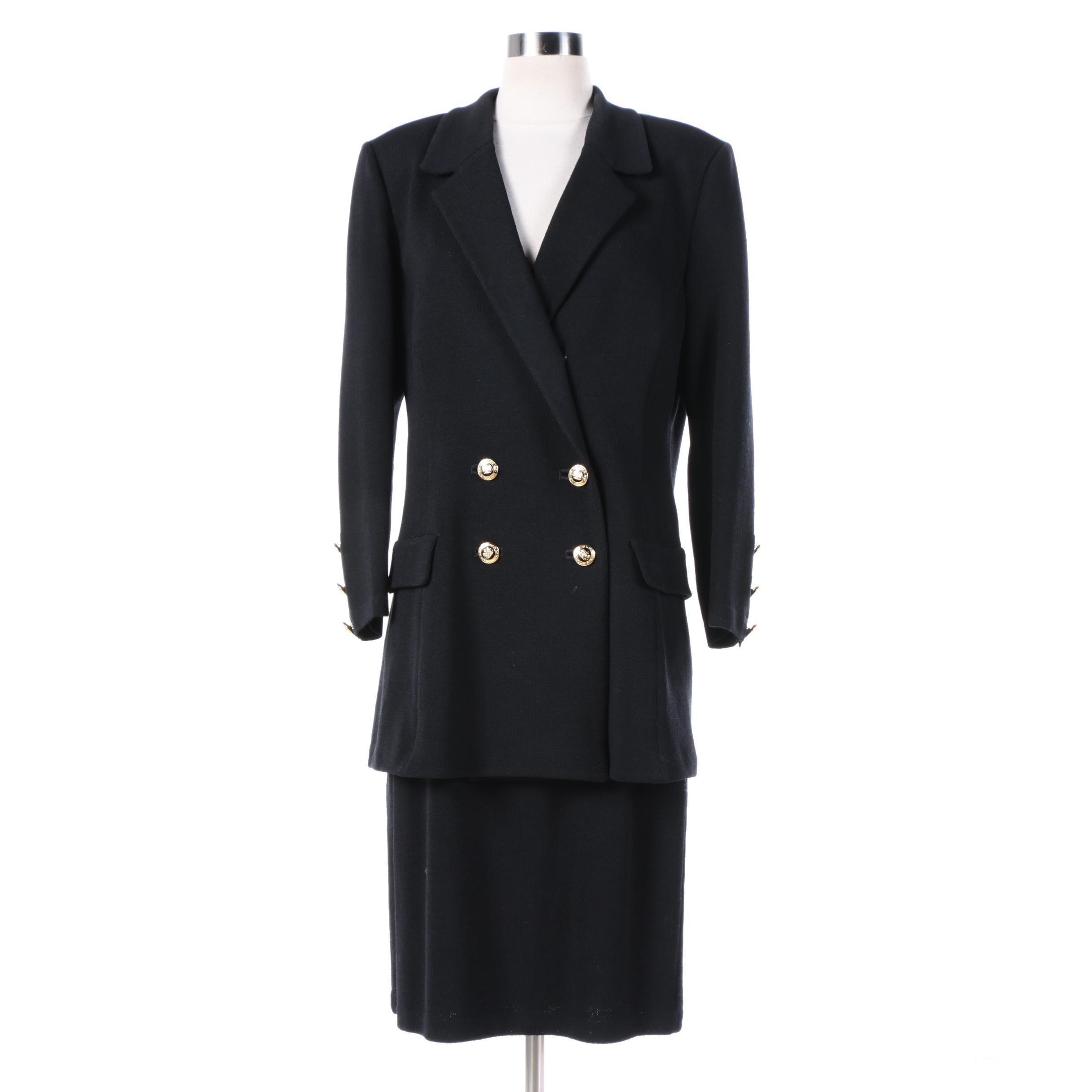 Women S St John Basics Black Knit Double Breasted Skirt Suit Ebth