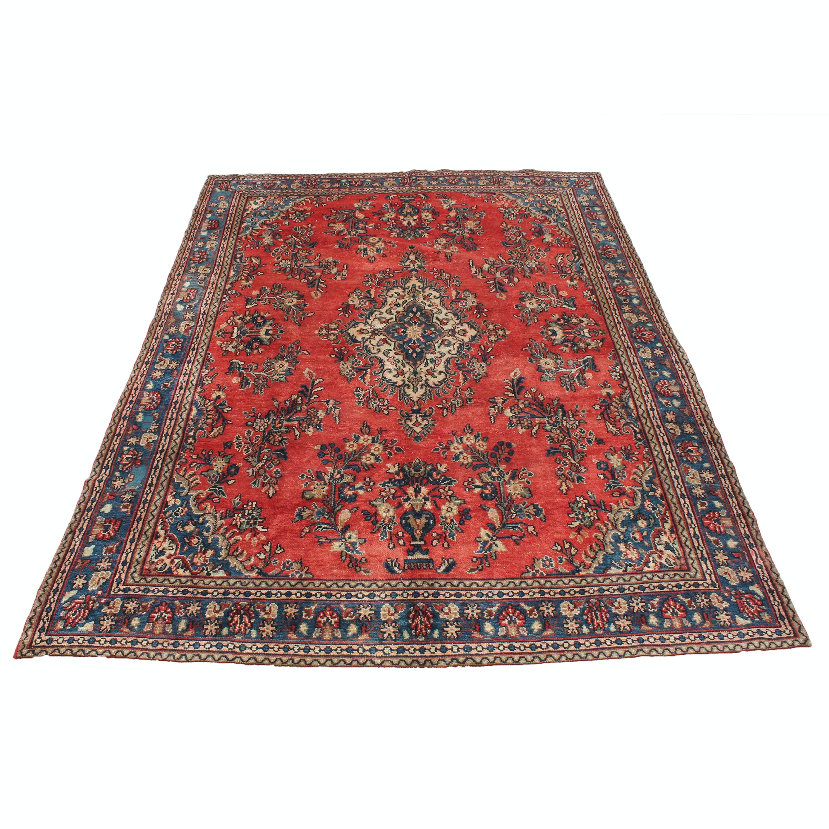 7' x 10' Semi-Antique Hand-Knotted Persian Malayer Sarouk Area Rug