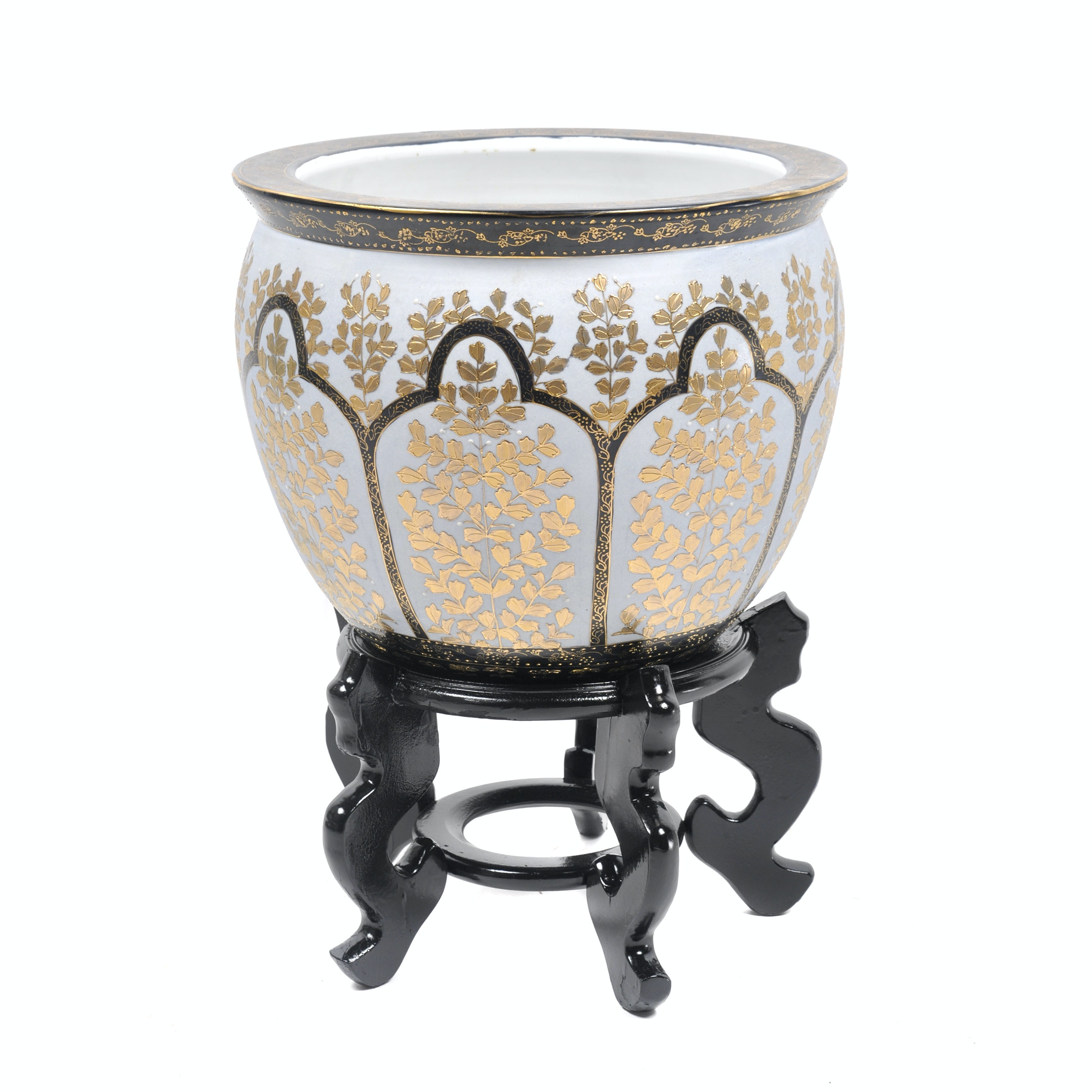Chinese Porcelain Goldfish Planter and Pedestal