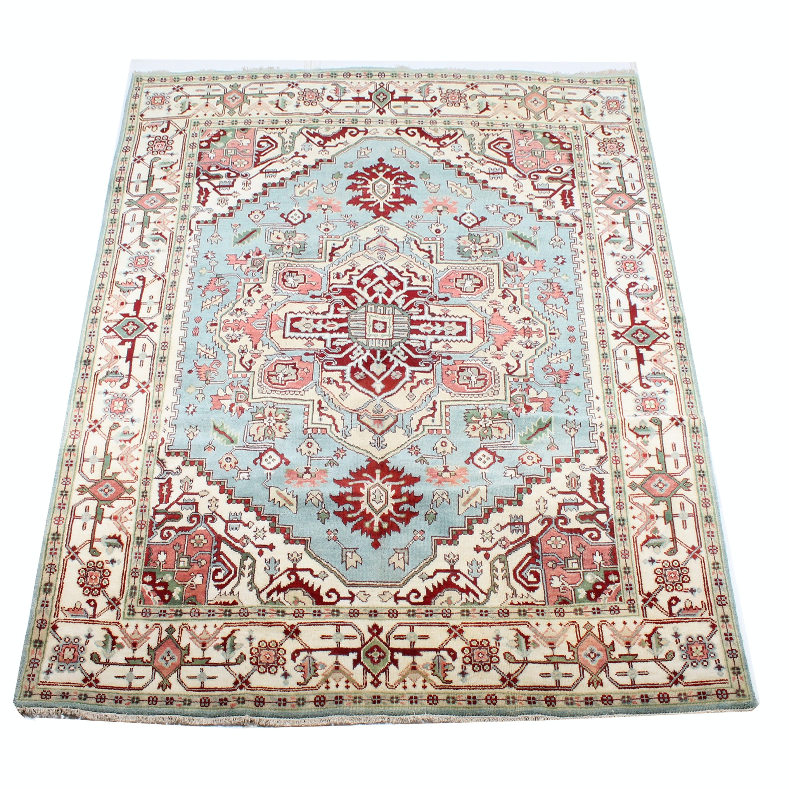 8' x 10' Hand-Knotted Indo-Persian Bakhshayesh Heriz Room Size Rug