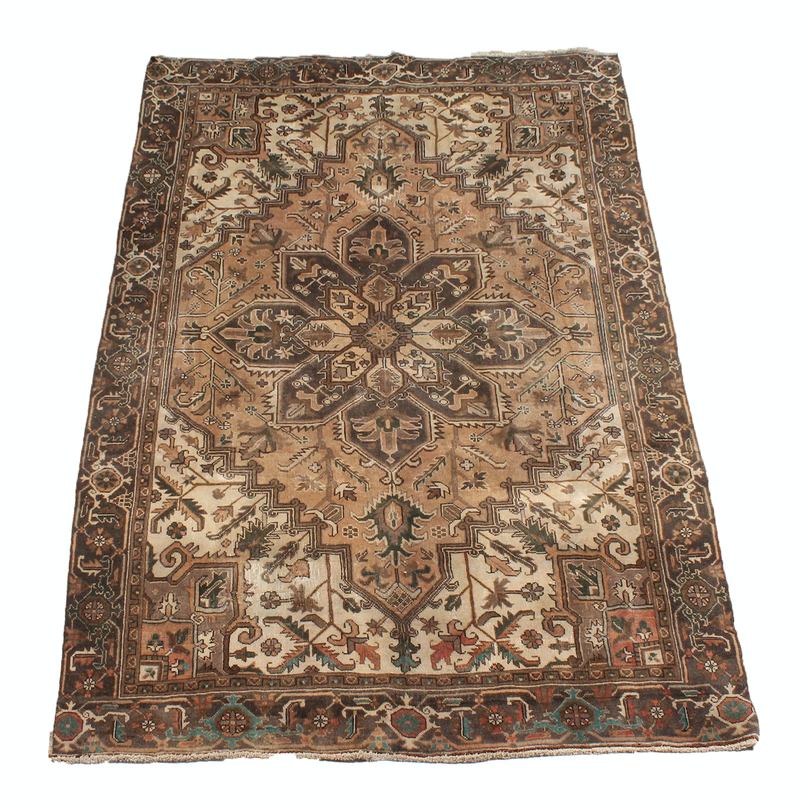 6' x 10' Vintage Hand-Knotted Persian Serapi Heriz Rug