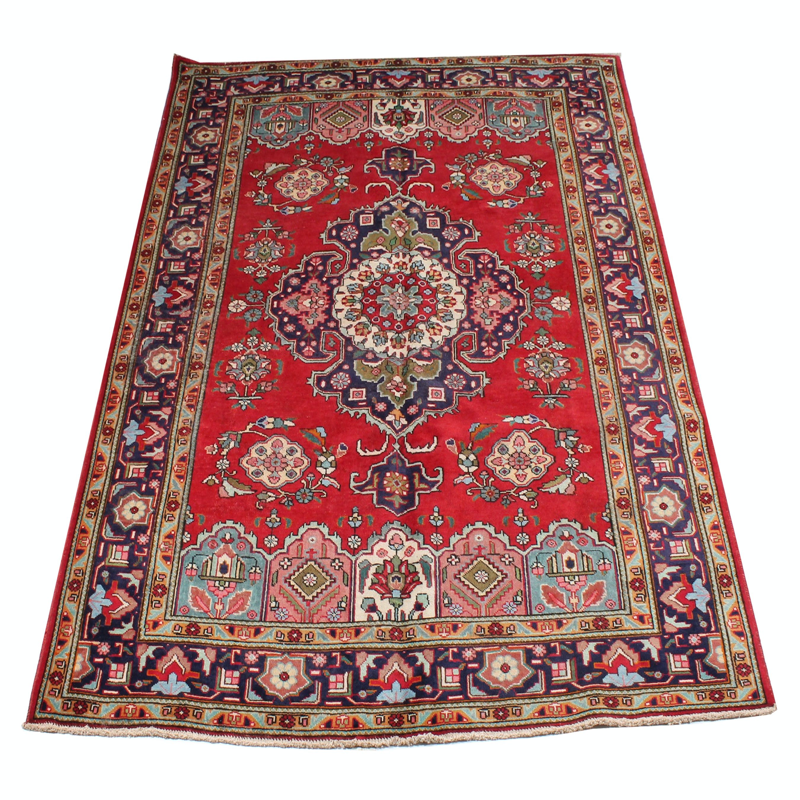 7' x 10' Vintage Hand-Knotted Persian Tabriz Room Size Rug