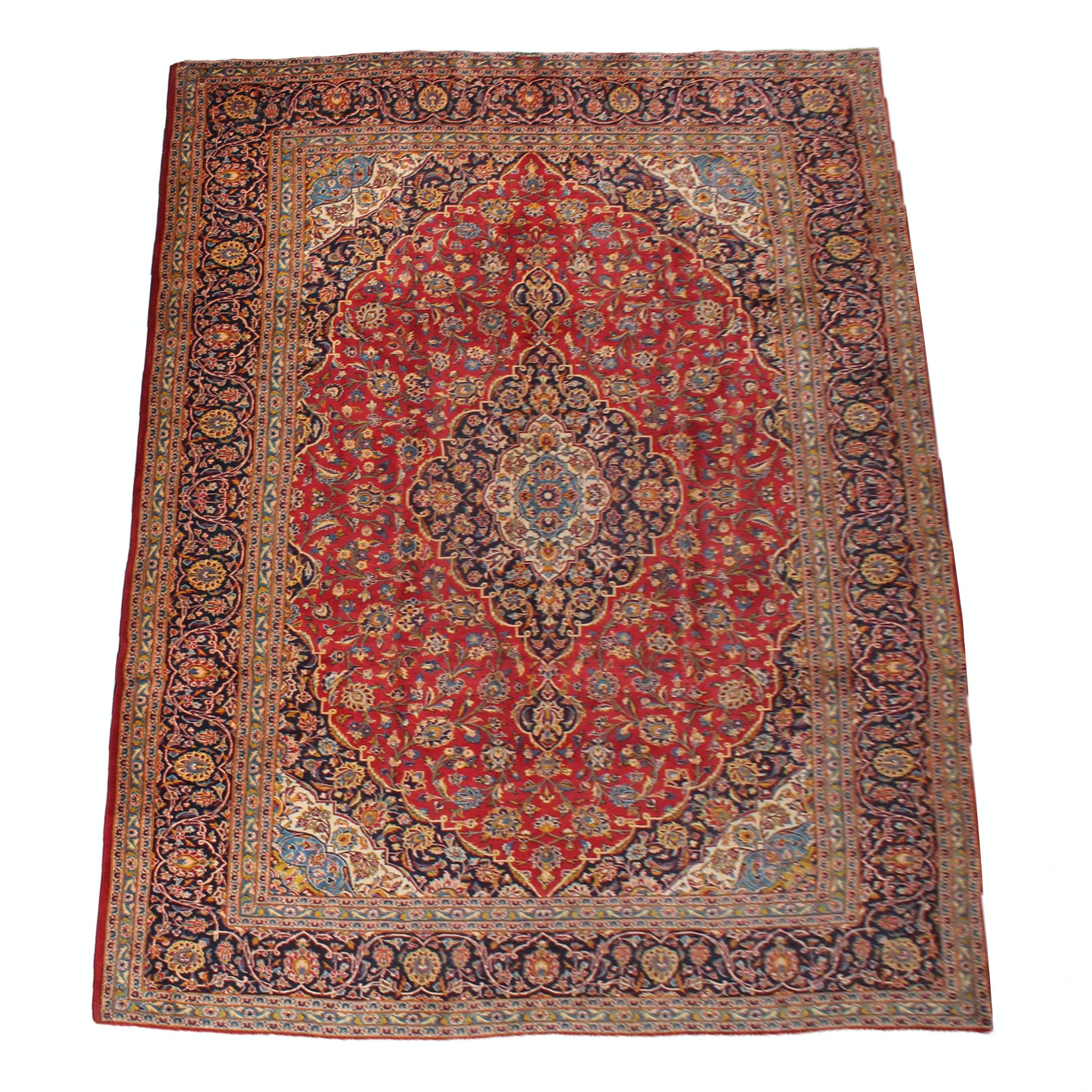 "10' x 13' Vintage Hand-Knotted Persian Kashan Room Size Rug Signed ""Ghottbi"""