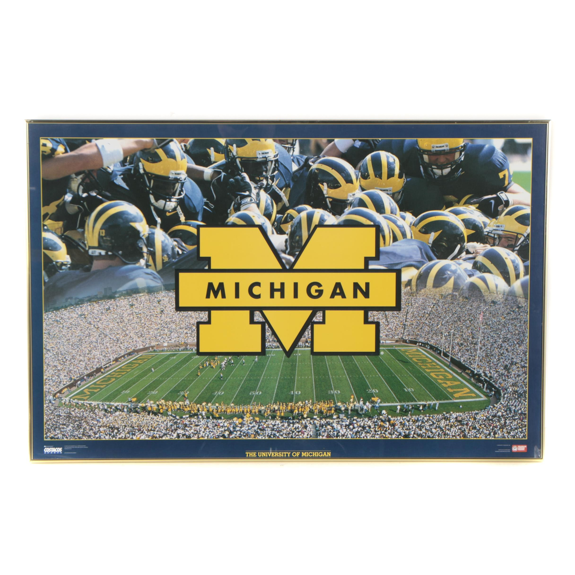 Offset Lithograph After Costacos Sports University of Michigan Poster