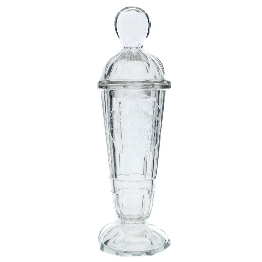 1959 Ice Hockey World Championship Commemorative Glass Trophy
