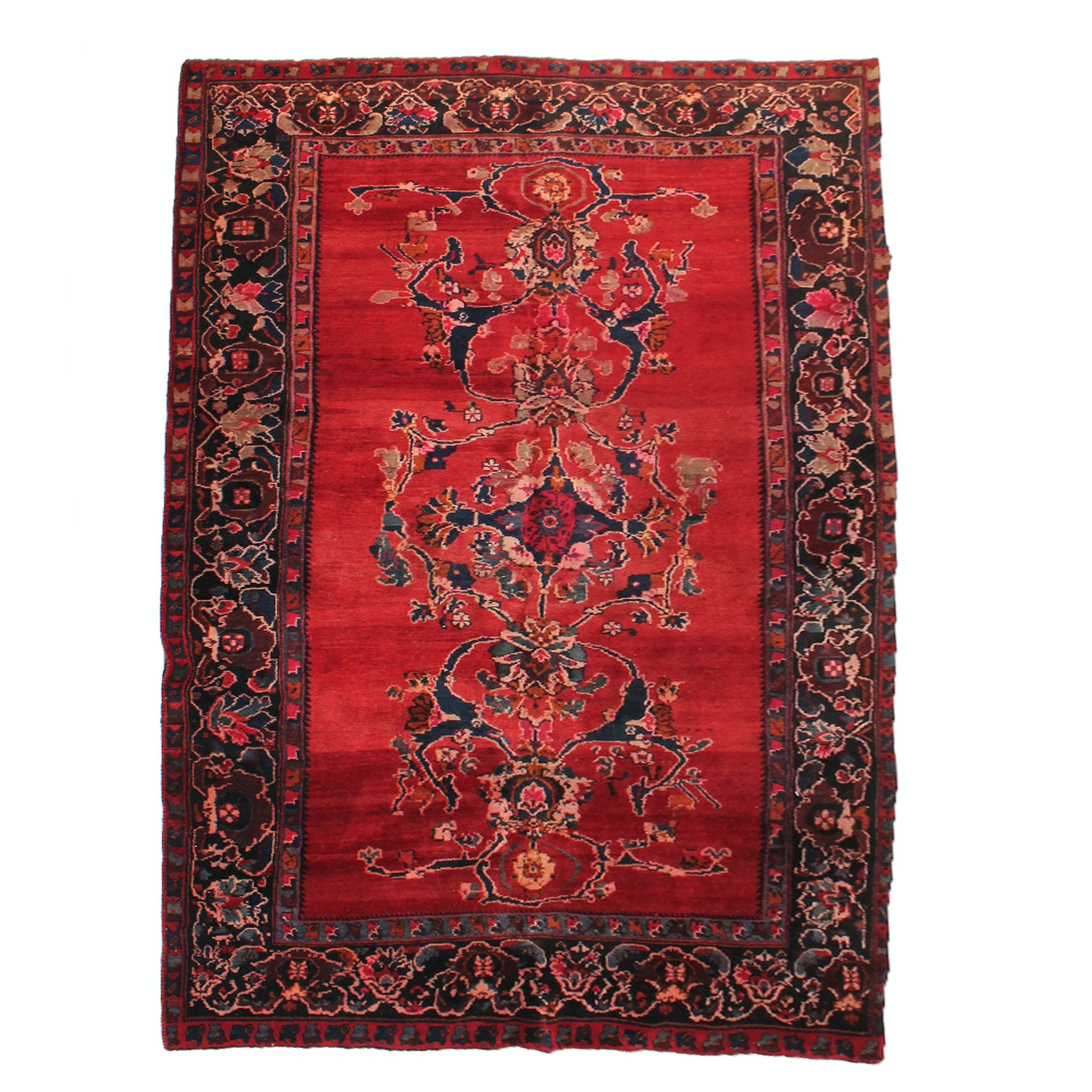 6' x 11' Vintage Hand-Knotted Persian Mahal Sarouk Area Rug