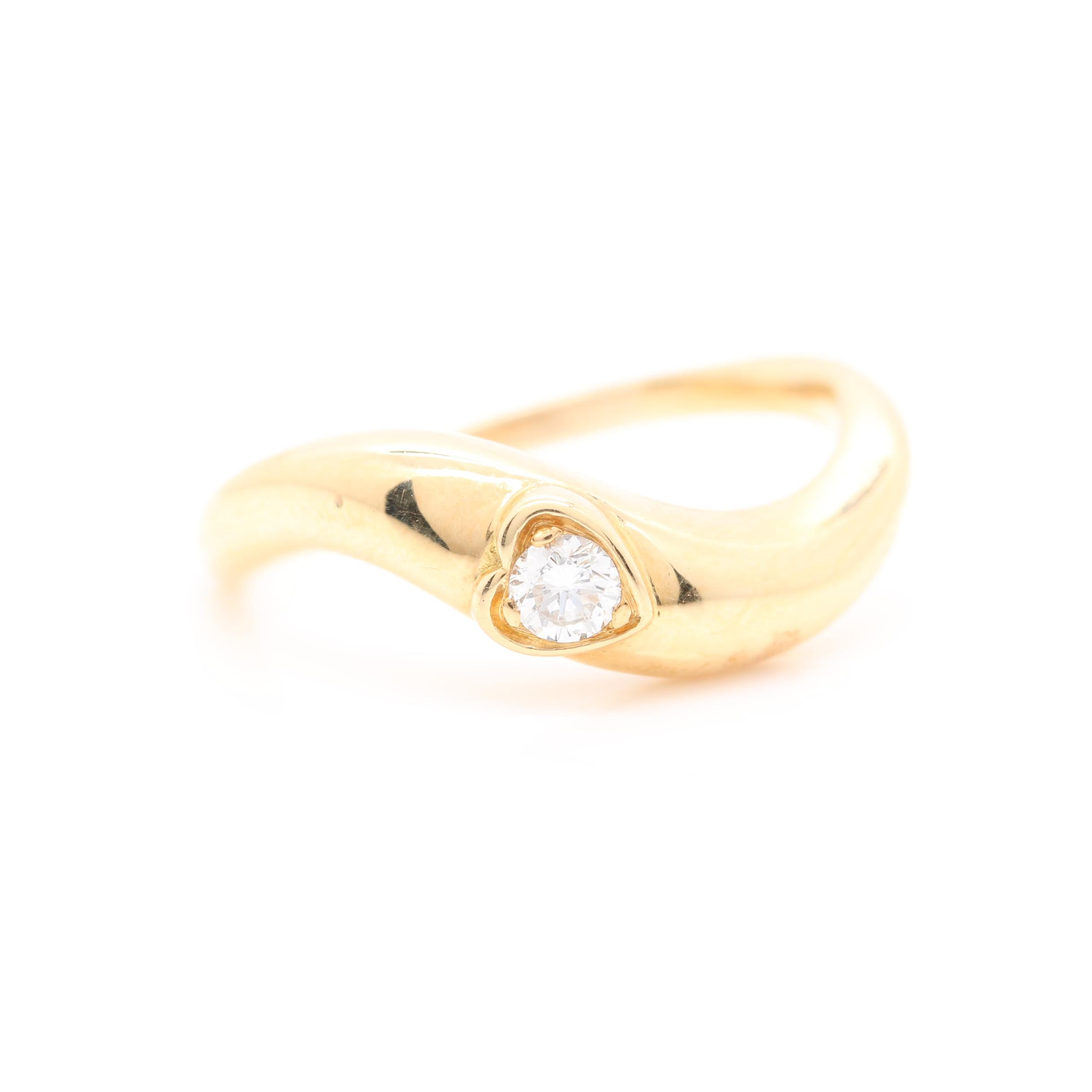 18K Yellow Gold Diamond Heart Ring