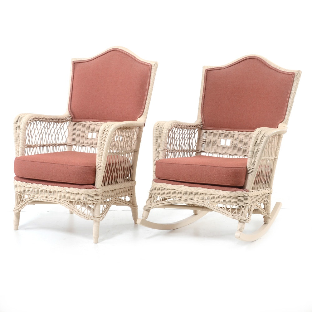 Pair of Vintage Wicker Lounge Chairs