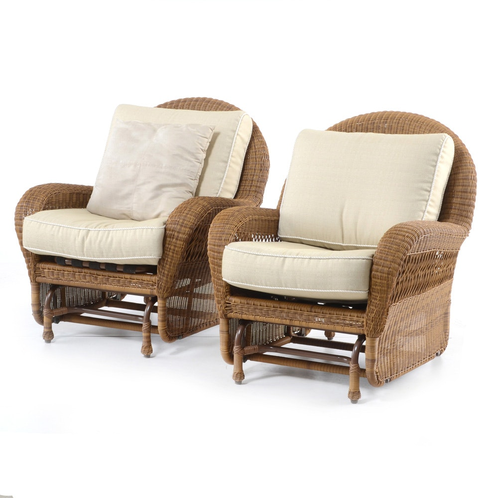 Pair of Wicker Glider Rocking Chairs