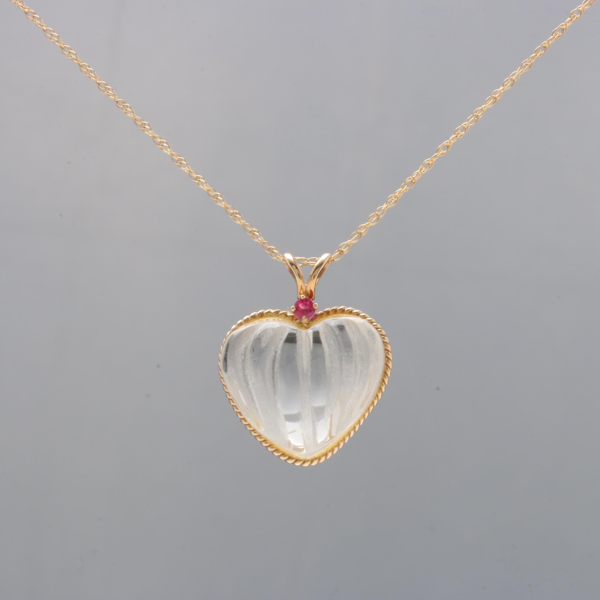 14K Yellow Gold Quartz and Ruby Heart Pendant Necklace