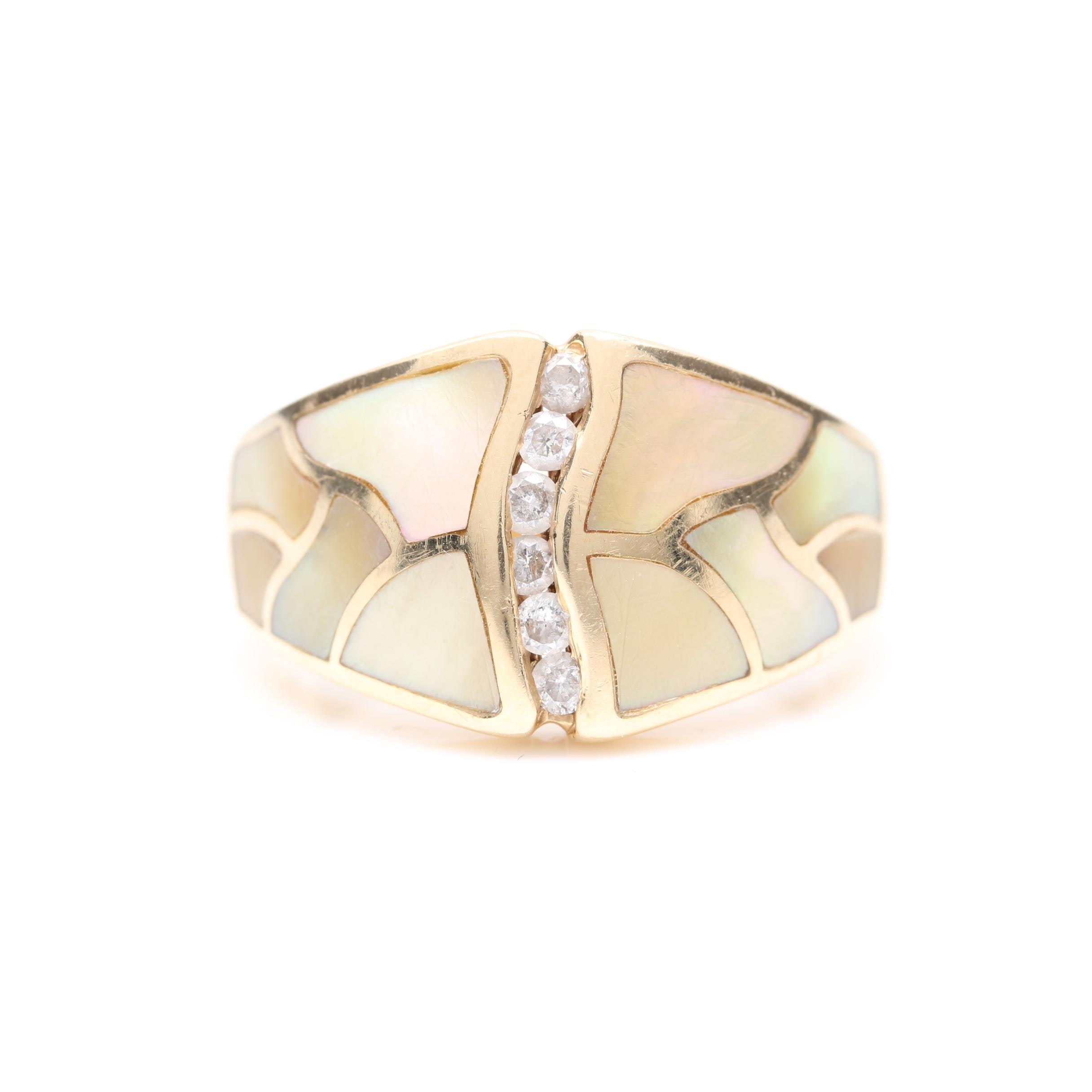 14K Yellow Gold Diamond and Mother of Pearl Ring