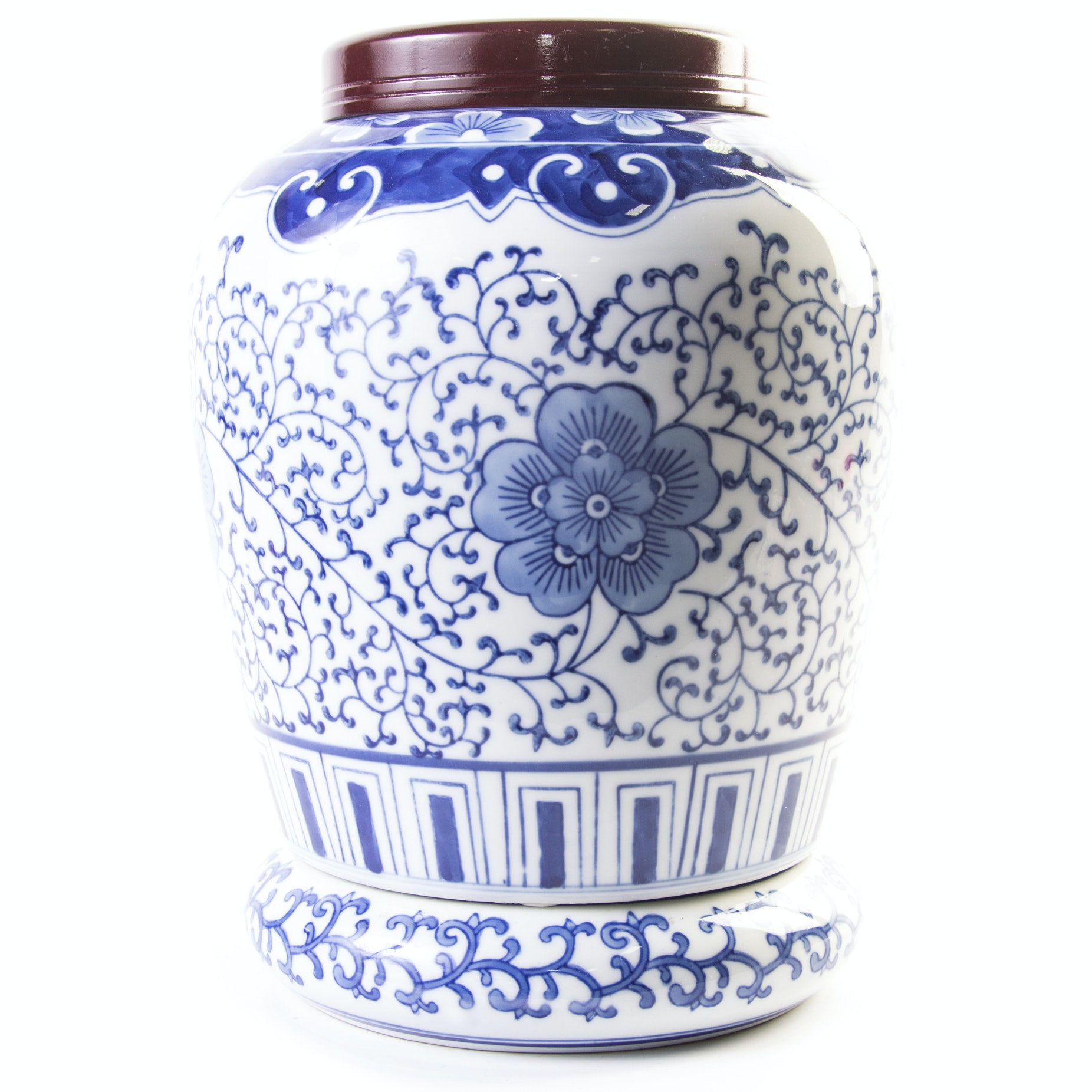 Chinese Ginger Jar with Ceramic Base and Wooden Lid