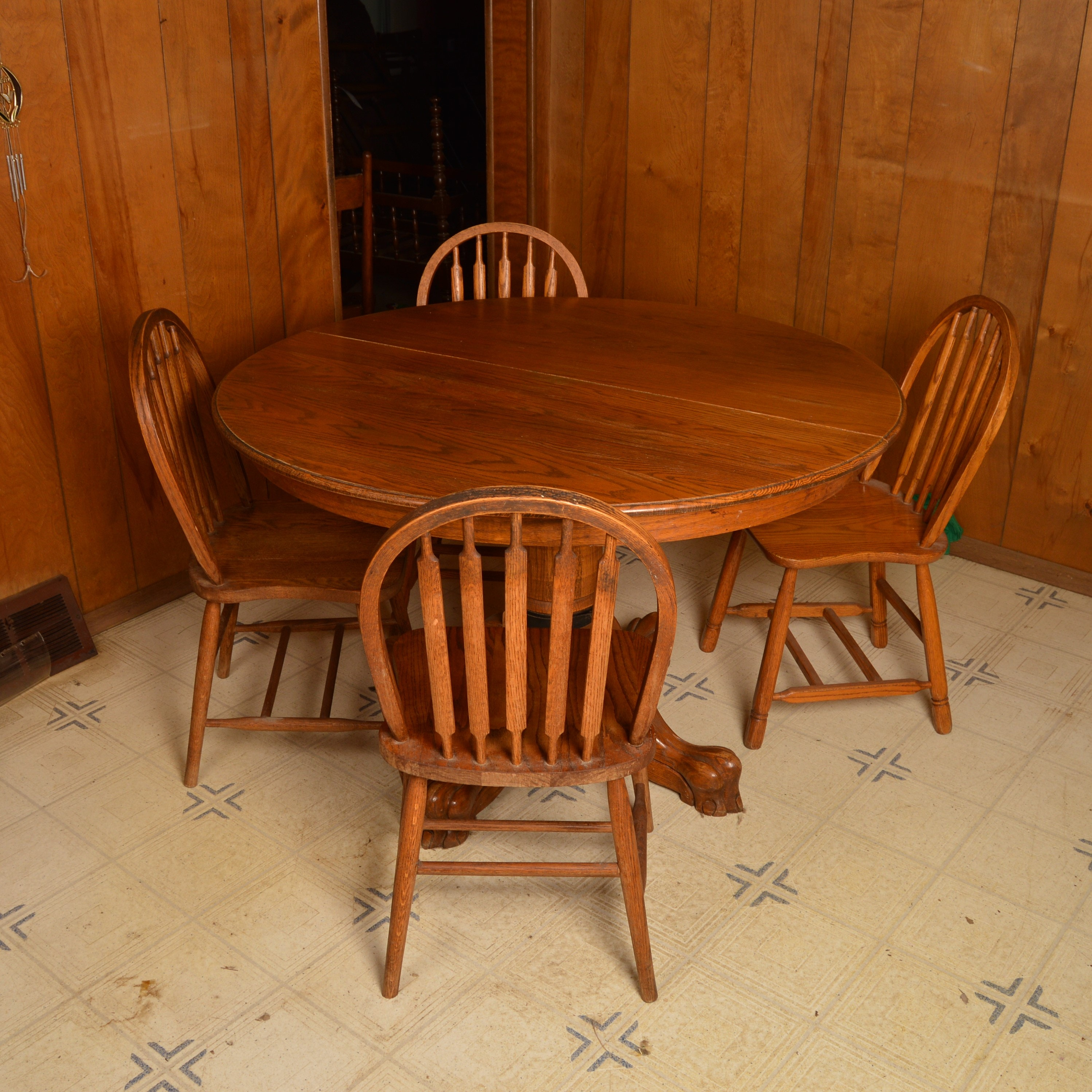 Vintage Oak Pedestal Dining Table and Four Chairs