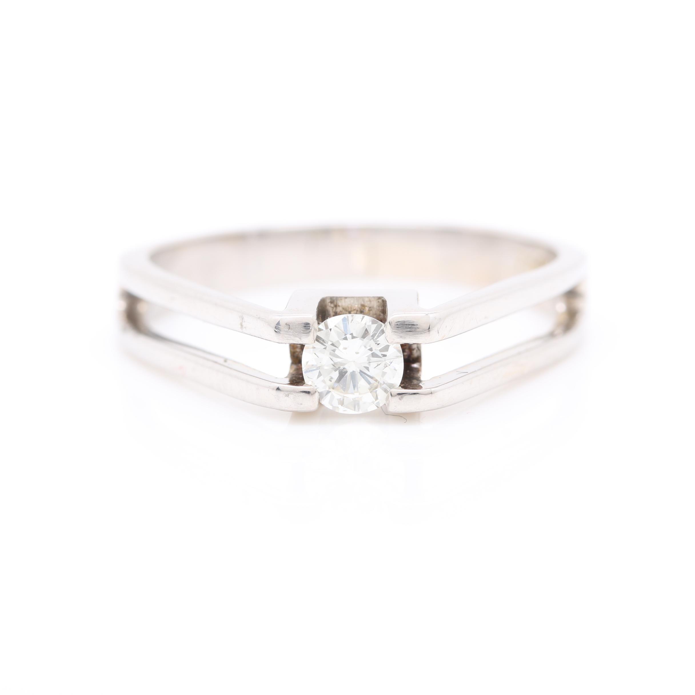 18K White Gold Diamond Solitaire Ring