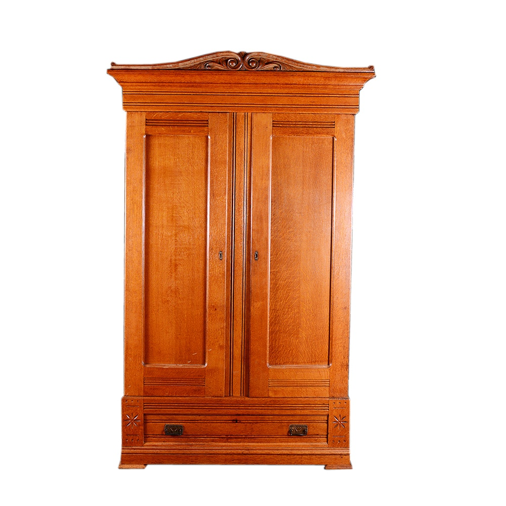 Antique Victorian Carved Oak Wardrobe