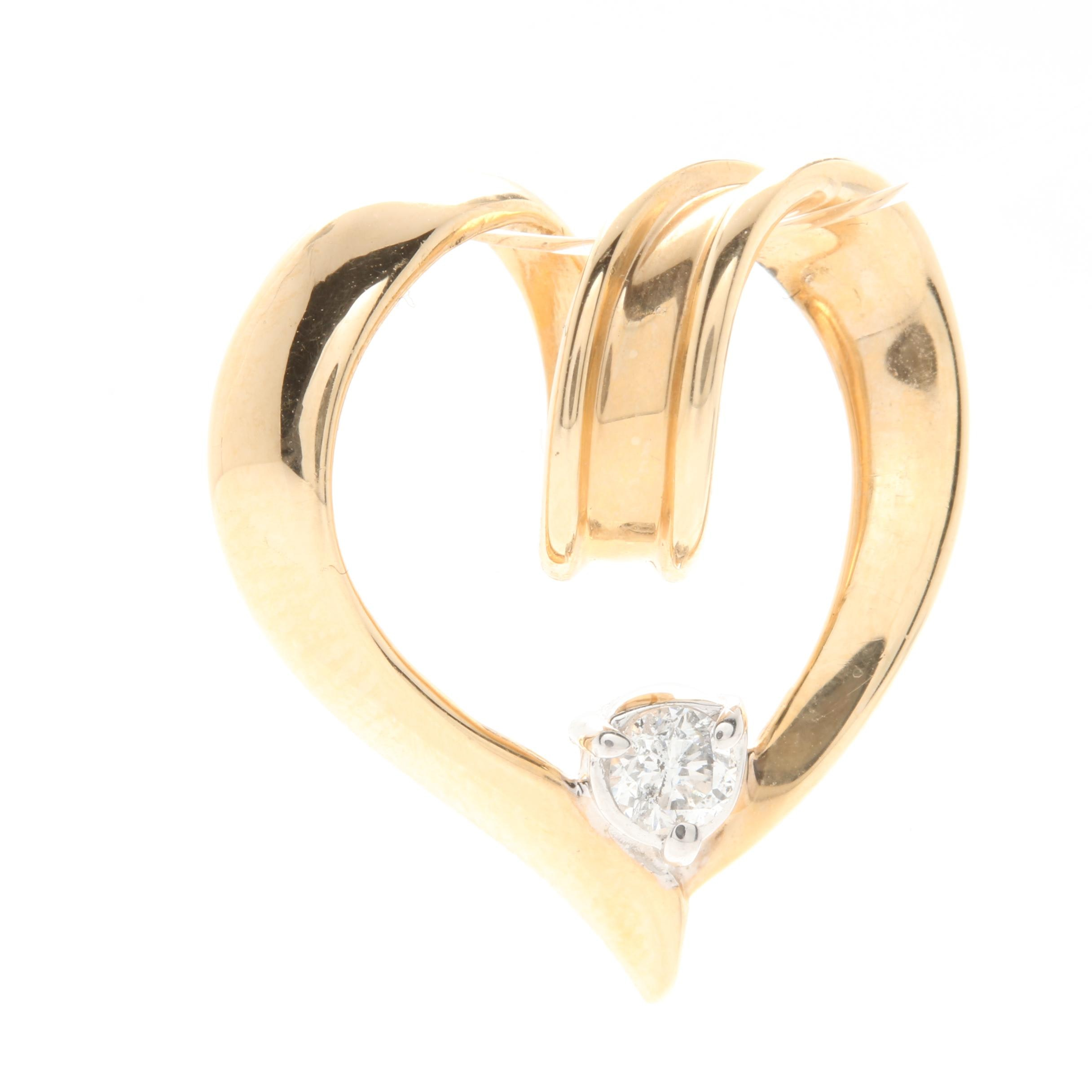Alwand Vahan 14K Yellow Gold Diamond Heart Slide Pendant