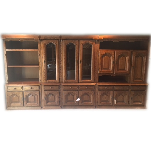 Large Multi-Piece Bookcase and Media Storage Cabinets