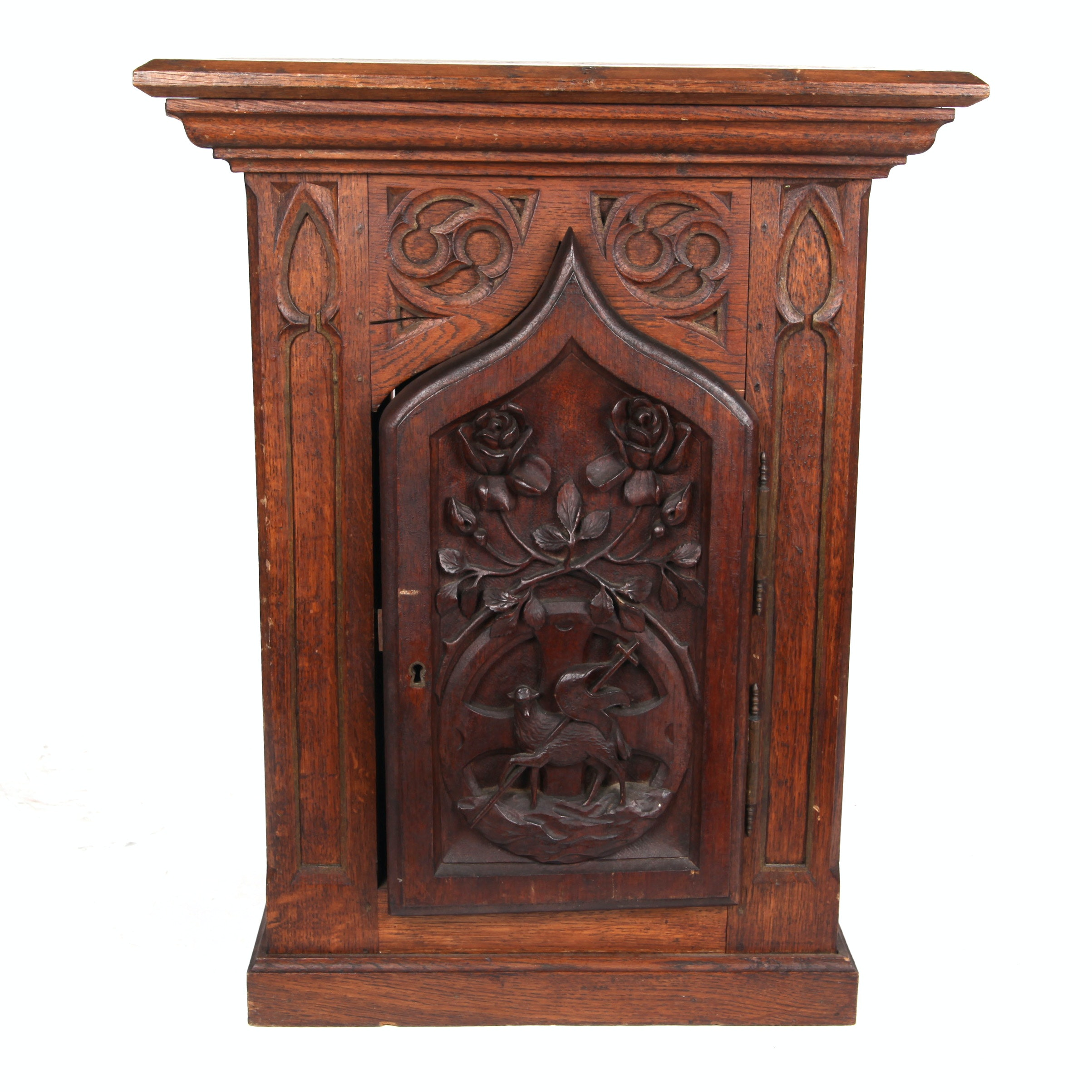 Antique Gothic Style Carved Oak Church Cabinet