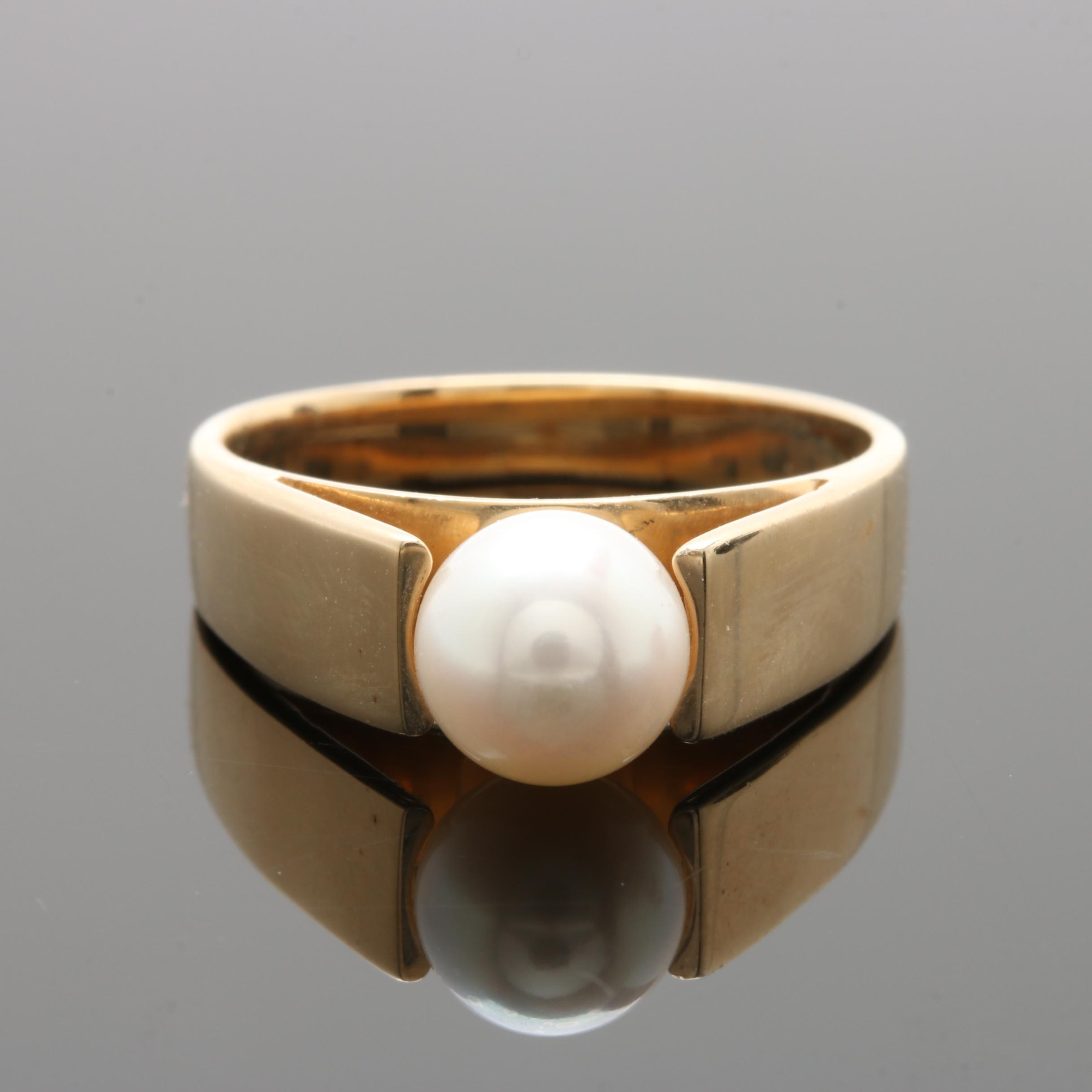 10K Yellow Gold Cultured Pearl Ring