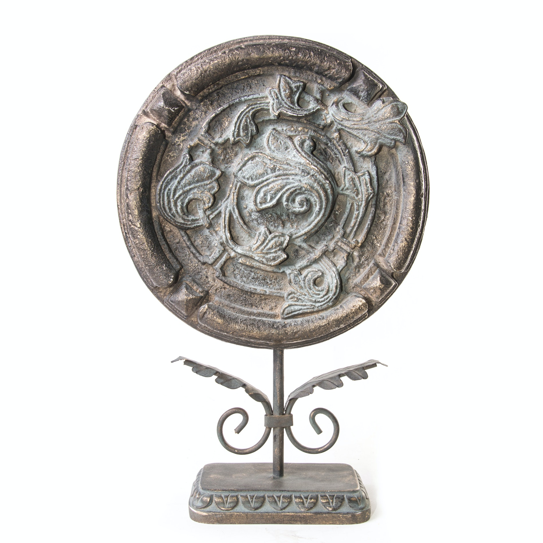 Decorative Resin and Brass Medallion Sculpture
