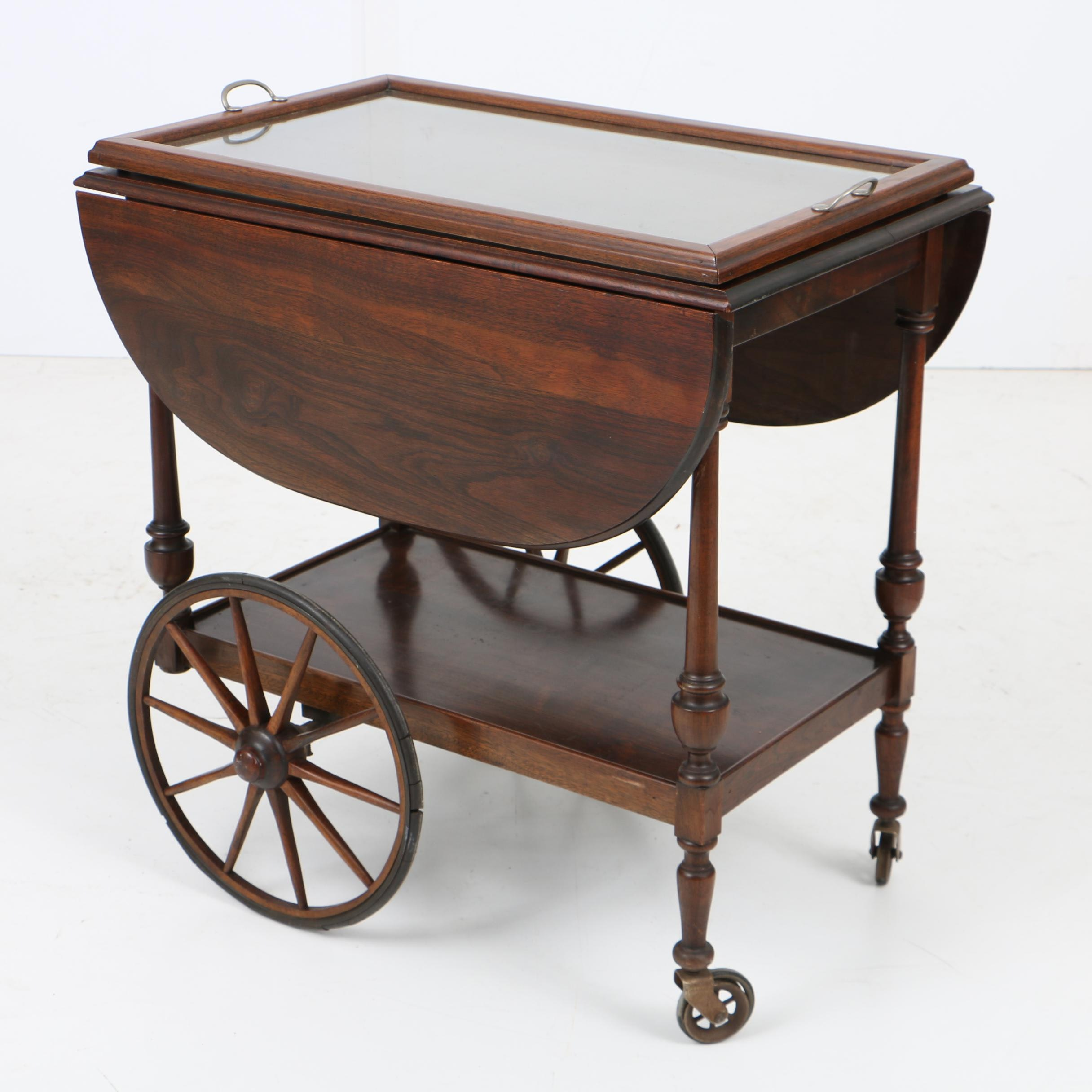 Vintage Walnut Tea Cart with Glass Serving Tray