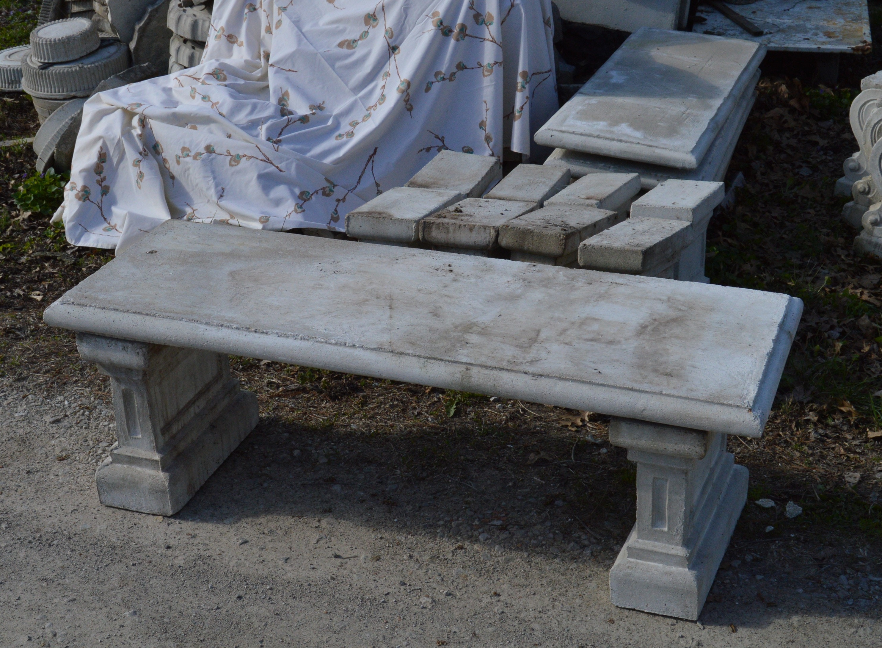 Six Cast Stone Garden Benches