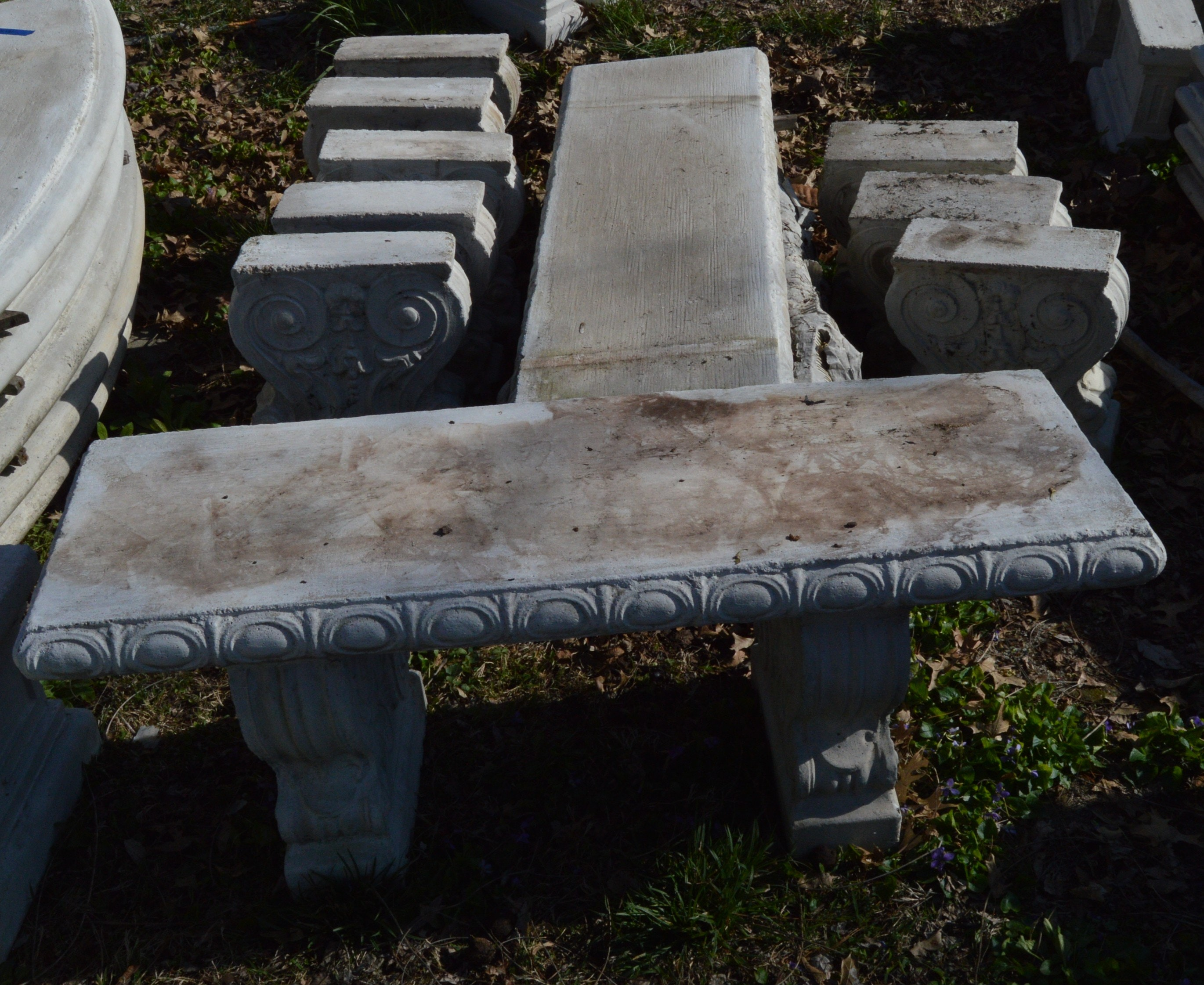 Five Cast Stone Garden Benches