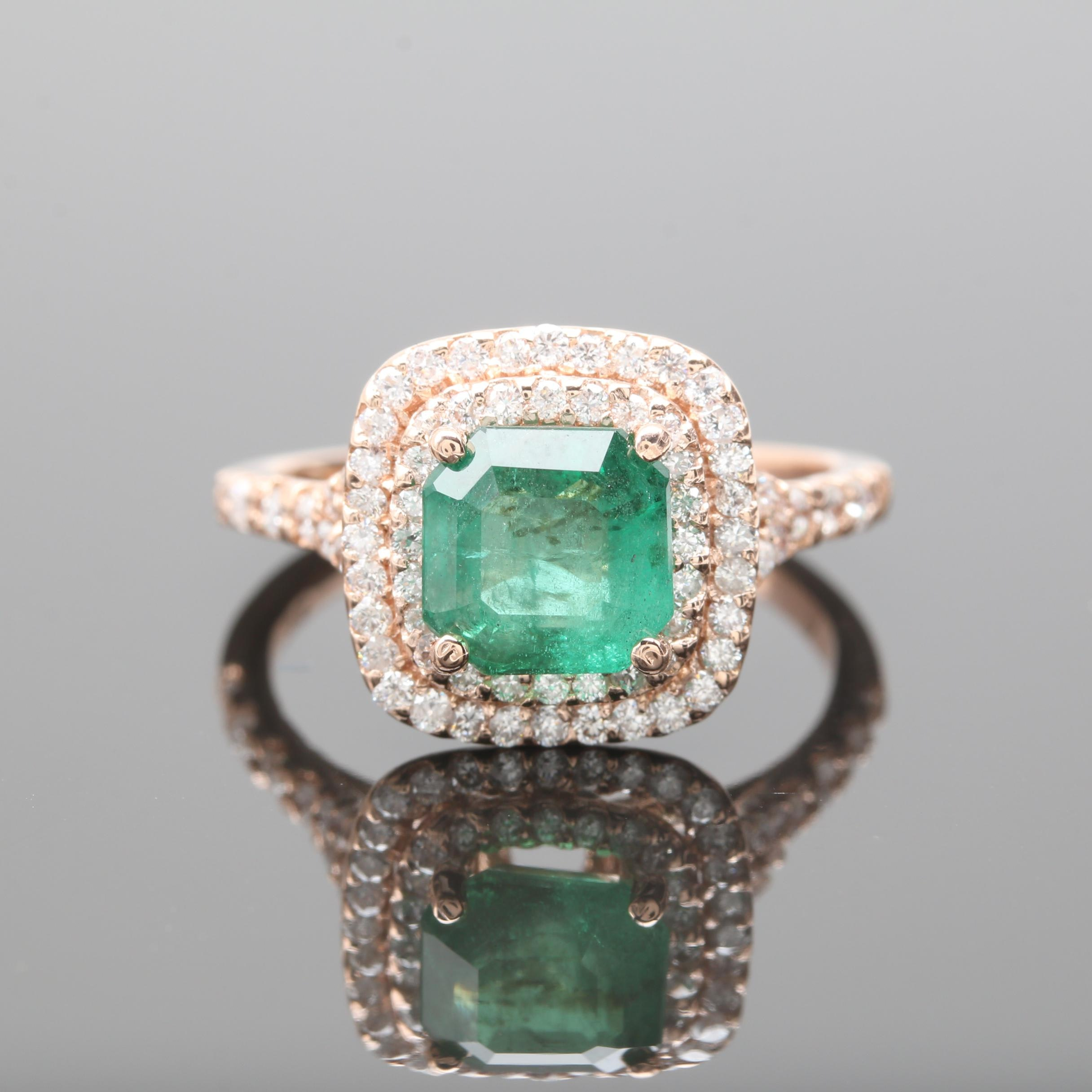 14K Rose Gold 1.59 CT Emerald and Diamond Ring