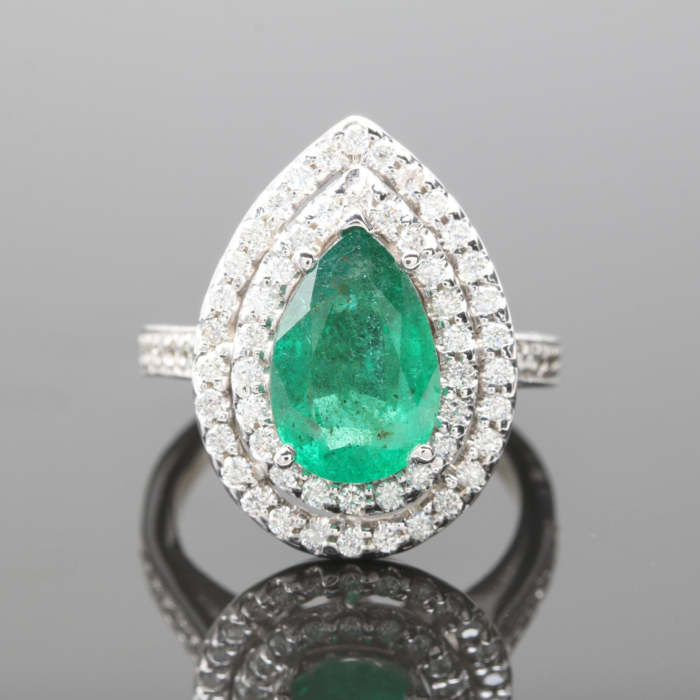 14K White Gold 2.01 CT Emerald and Diamond Ring