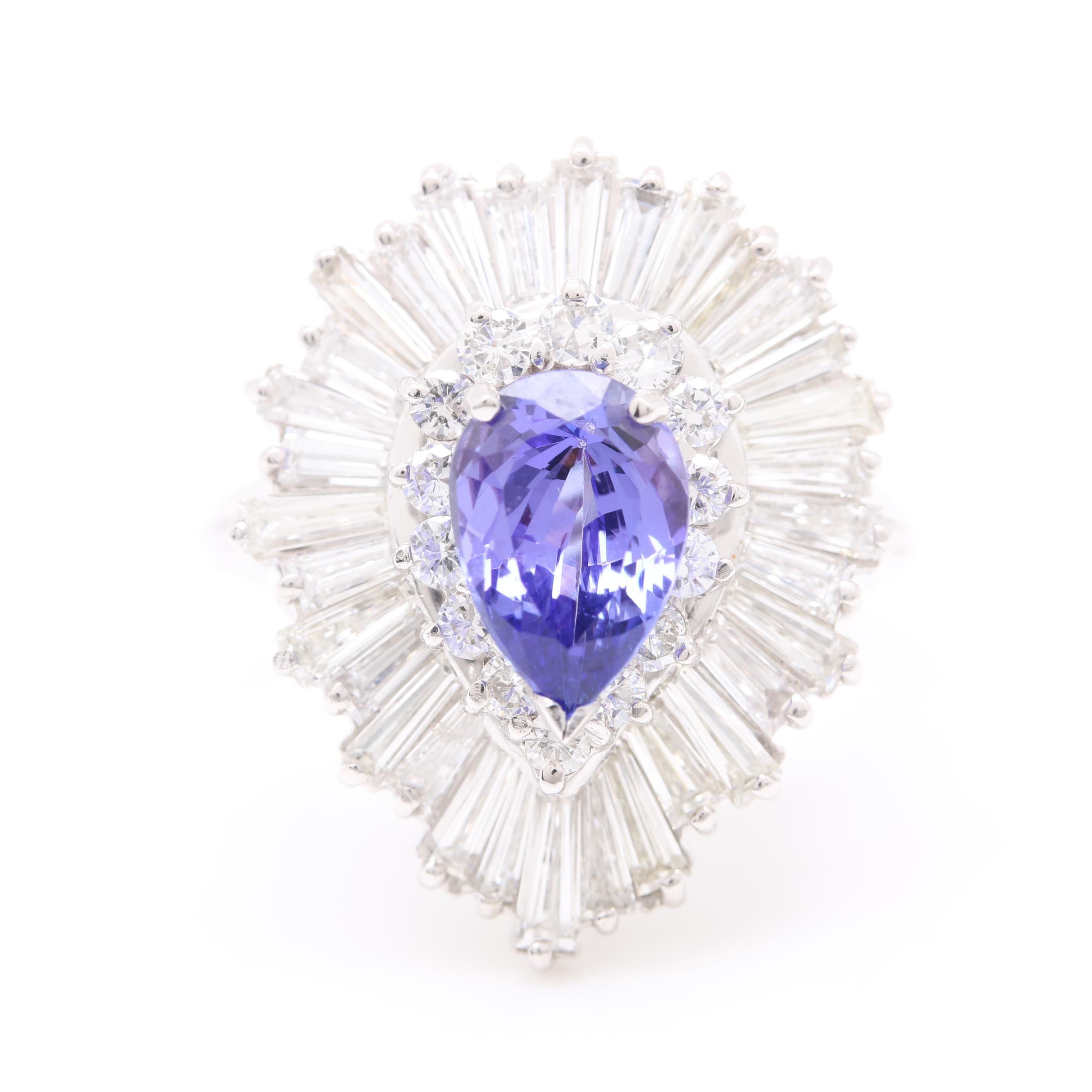 Platinum 1.77 CT Tanzanite and 3.86 CTW Diamond Statement Ring