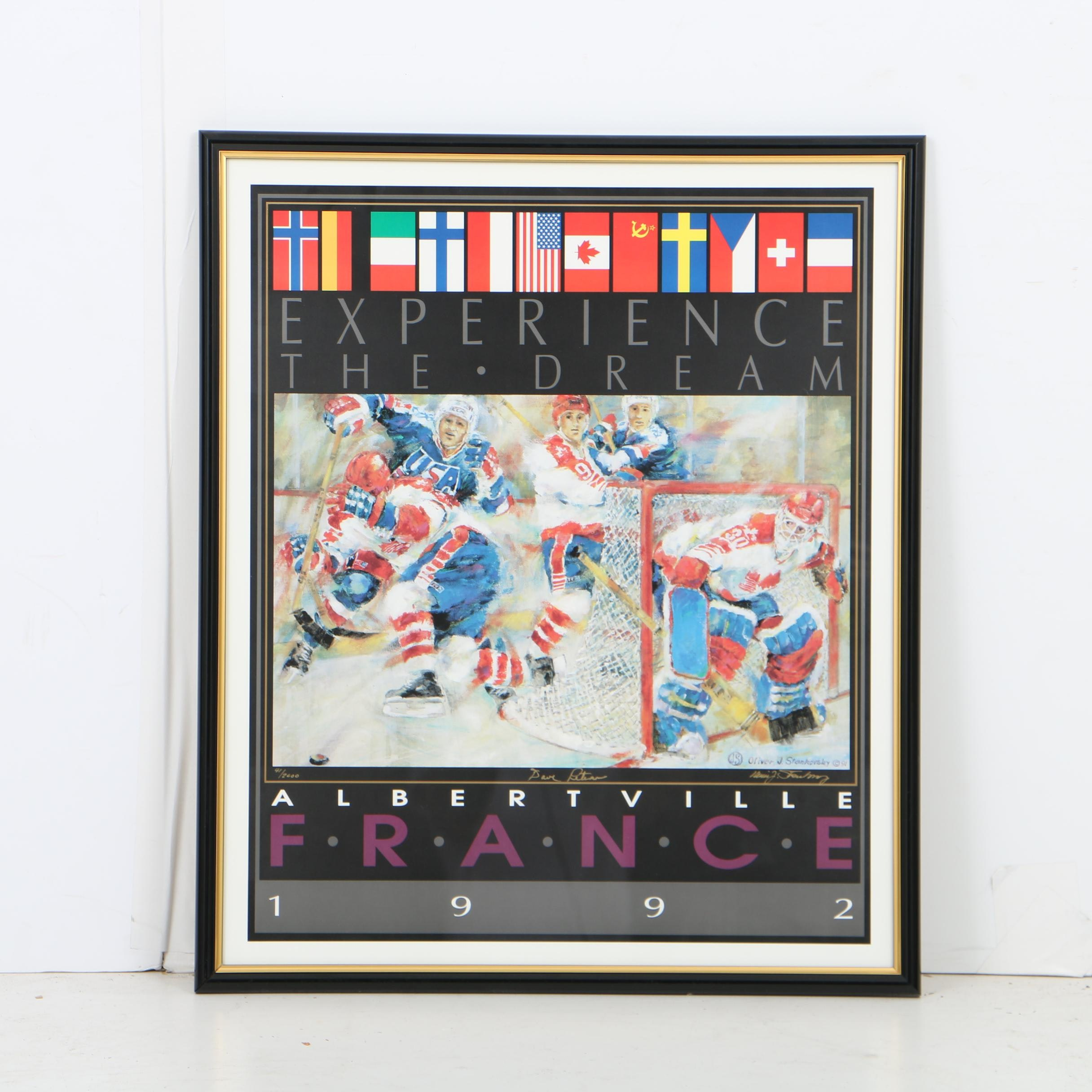 Oliver Stankovsky Limited Edition 1992 Winter Olympics Hockey Poster