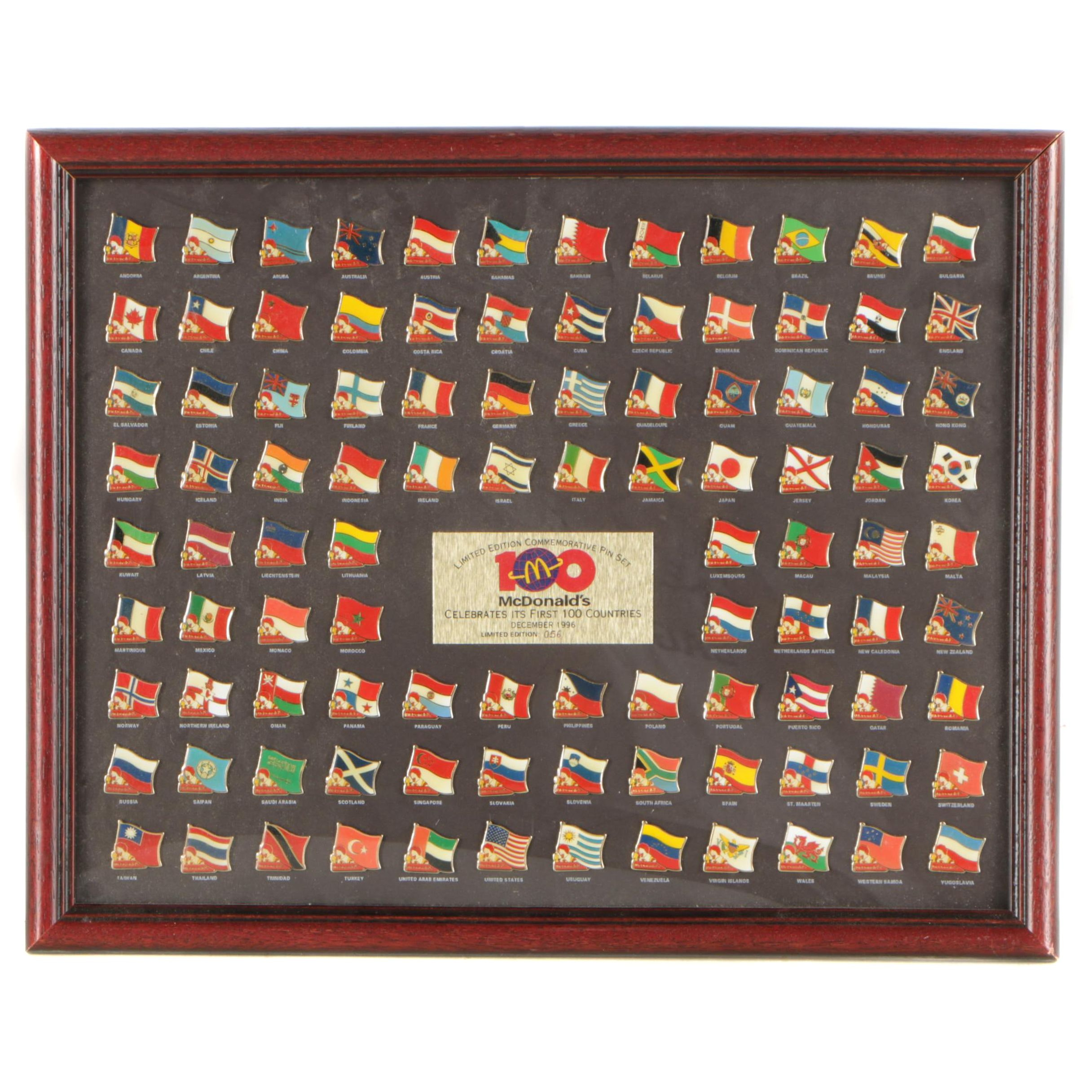 Framed Limited Edition 1996 McDonald's First 100 Countries Commemorative Pin Set
